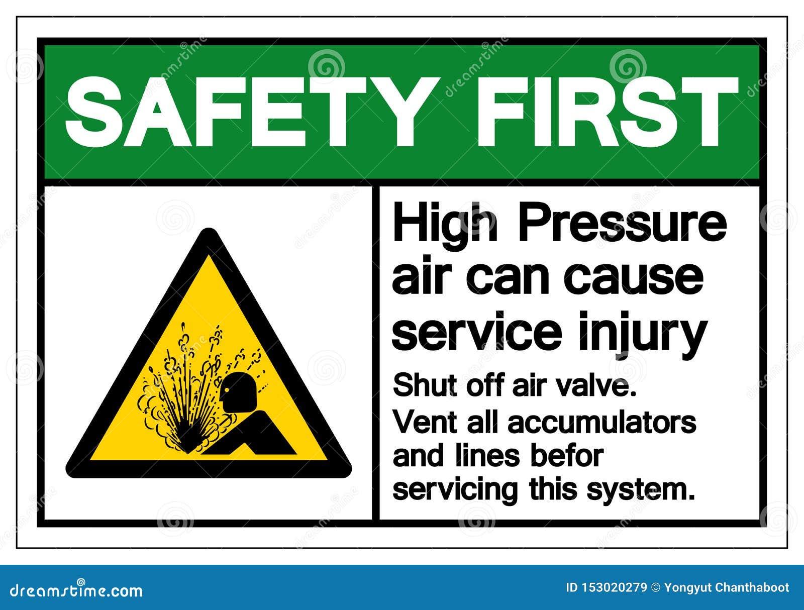 El aire de alta presión de la seguridad primero puede causar la muestra del símbolo de lesión del servicio, ejemplo del vector, a