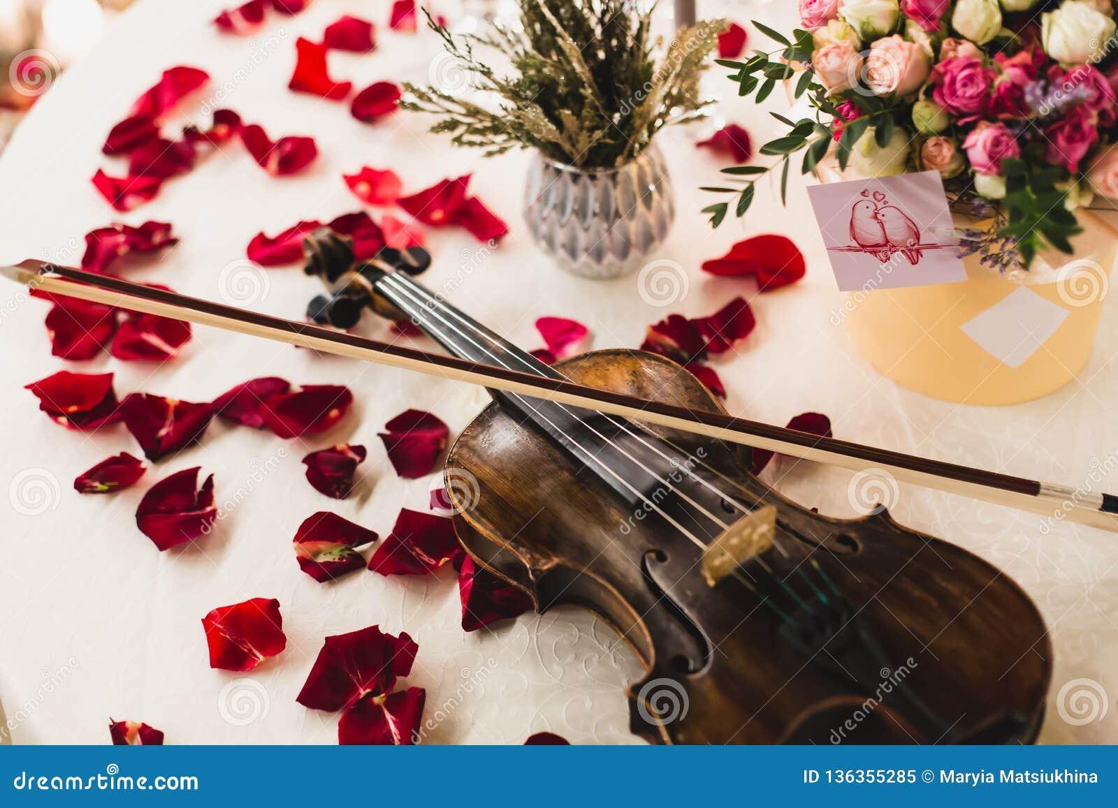 El ajuste romántico de la tabla con las flores hermosas en caja, subió los pétalos y violín