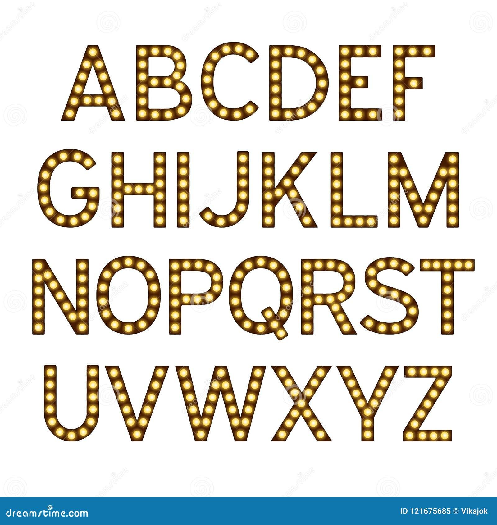 El alfabeto con las bombillas, letras con las lámparas, fuente de la lámpara, brillando intensamente pone letras a la imitación,