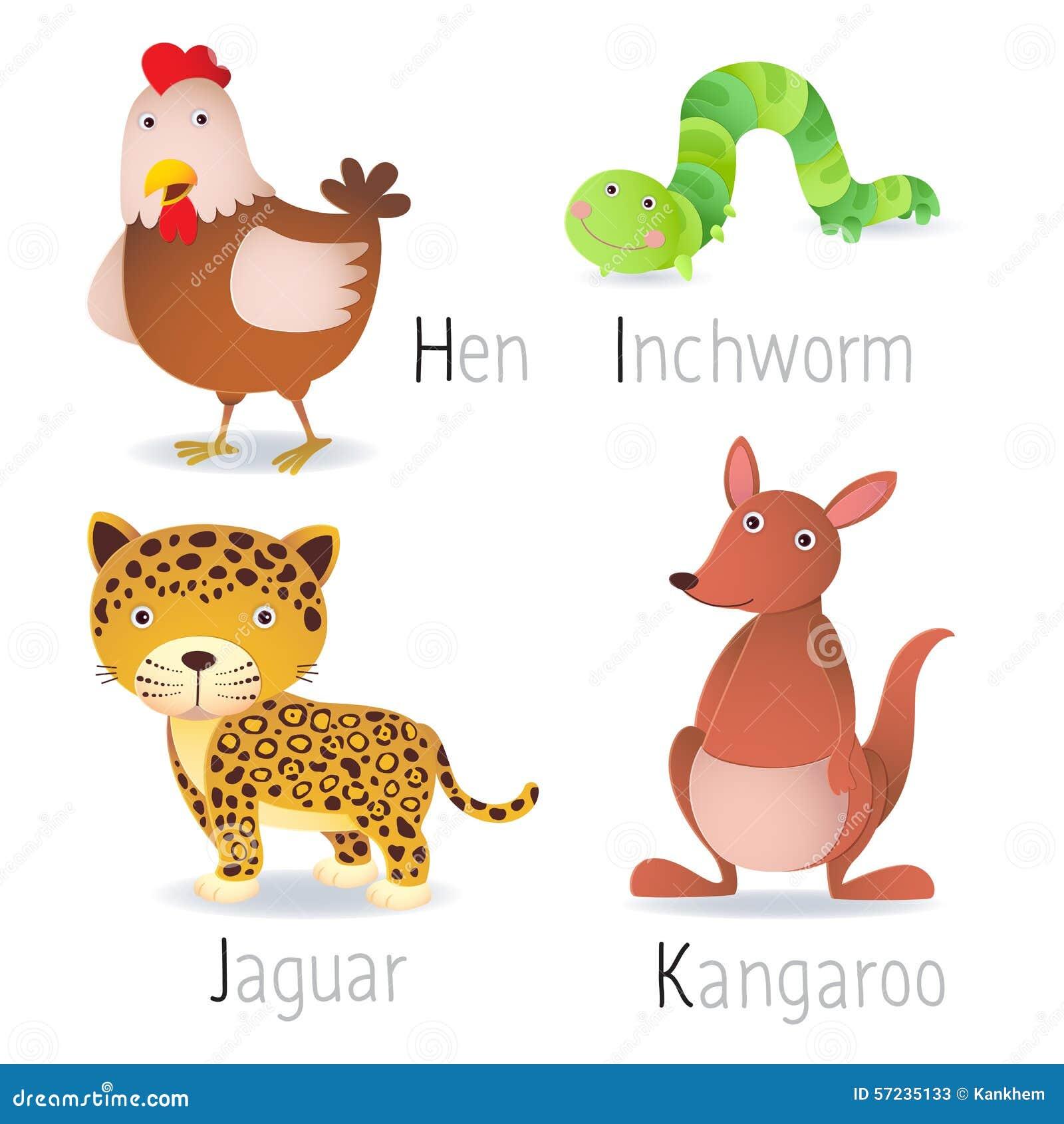 El alfabeto con los animales de H a K fijó 2