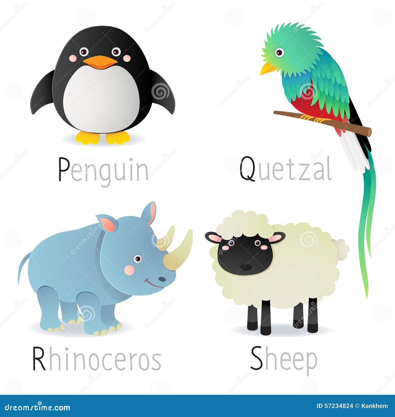 El alfabeto con los animales de P a S fijó 2