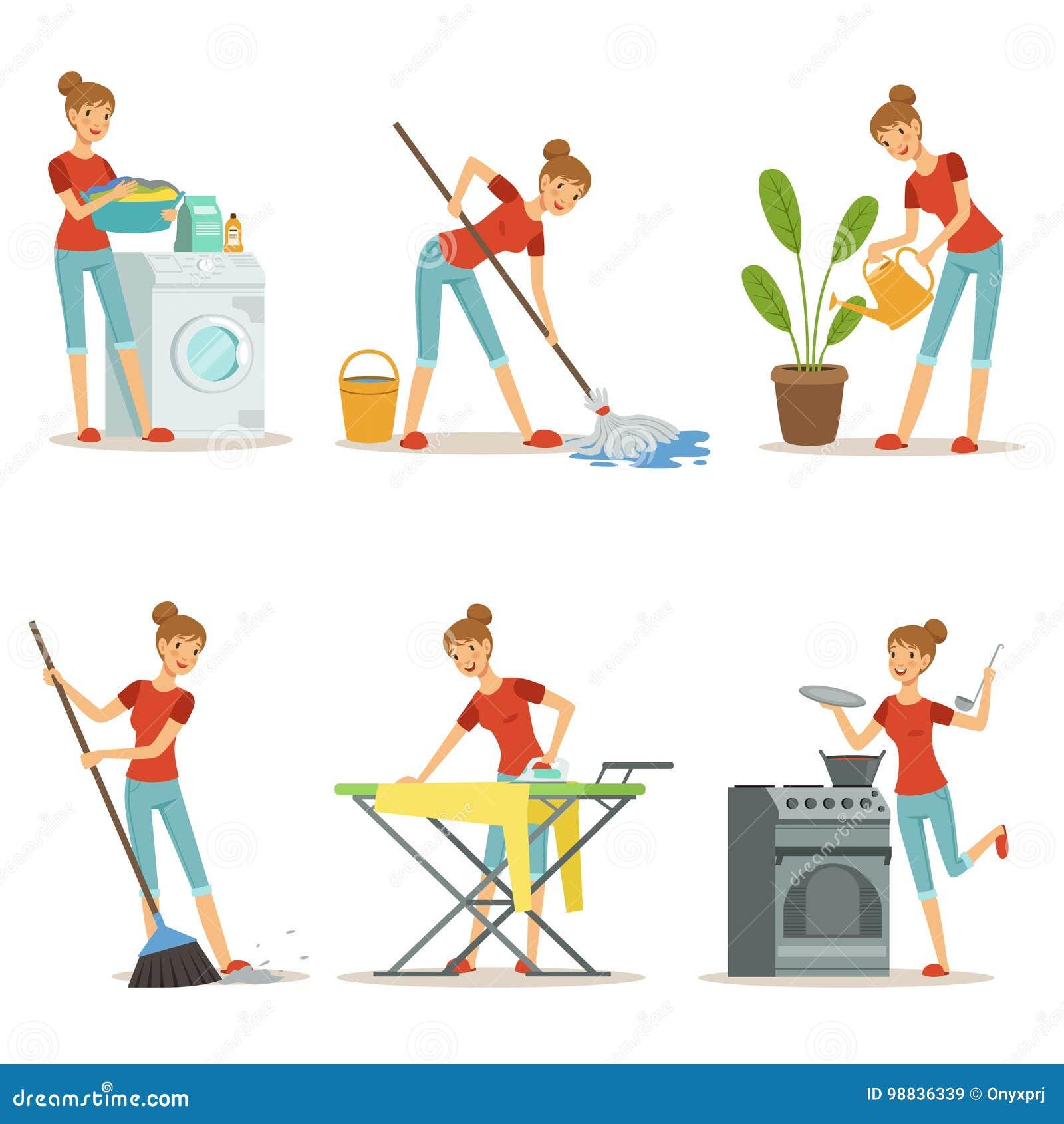 El ama de casa hace diversos trabajos nacionales empleo de for Oggetto casa