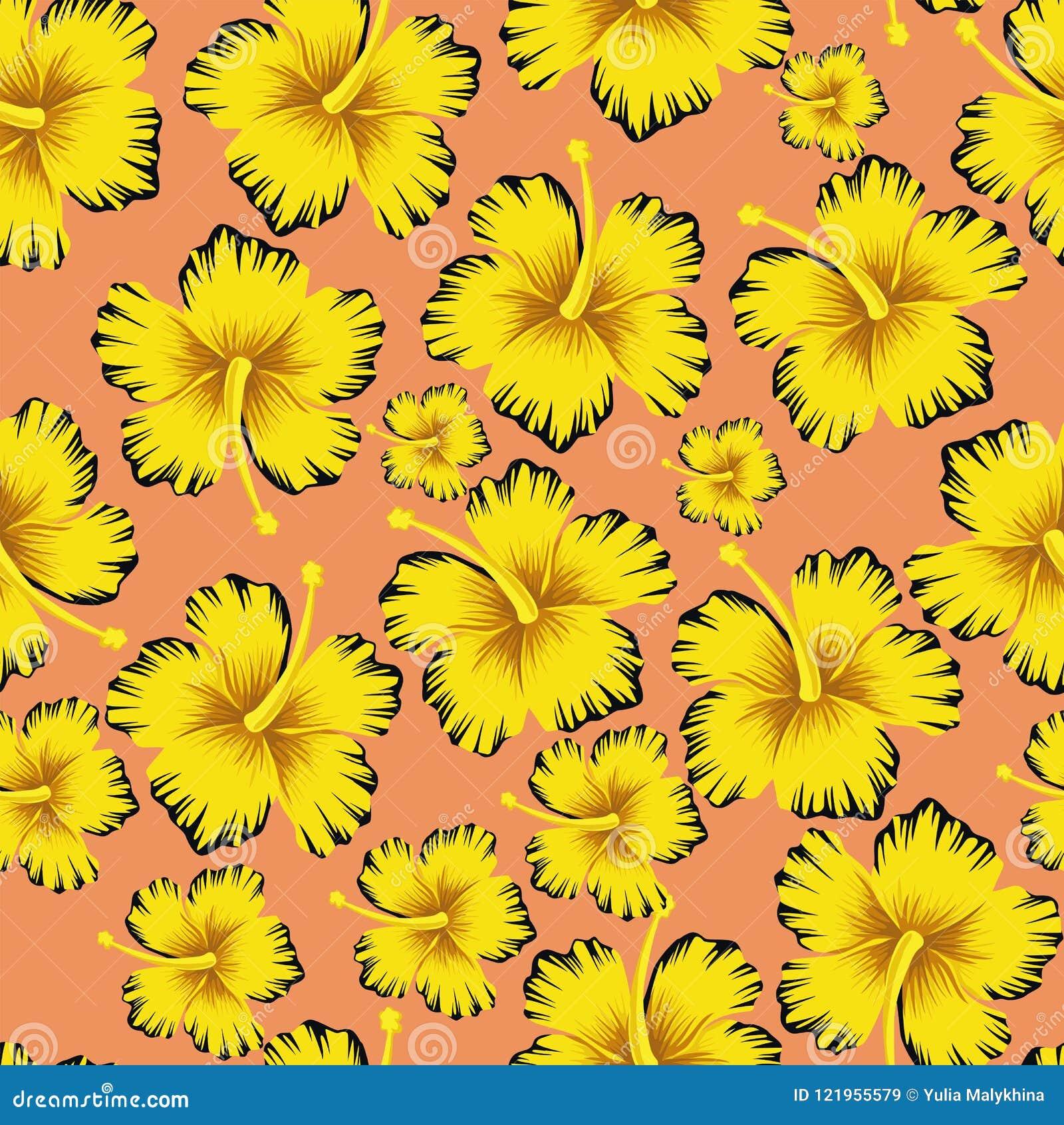 El amarillo florece el fondo rosado inconsútil del hibisco