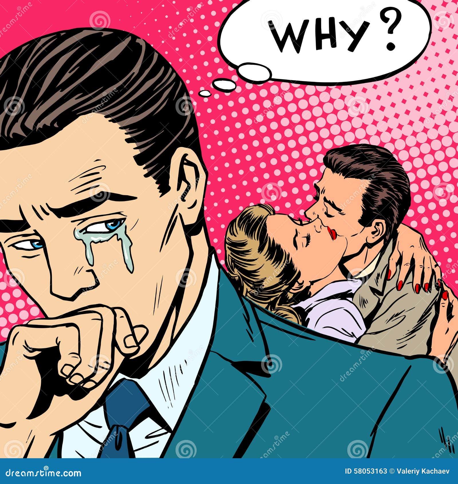El amor de engaño un hombre llora a su esposa con su amante