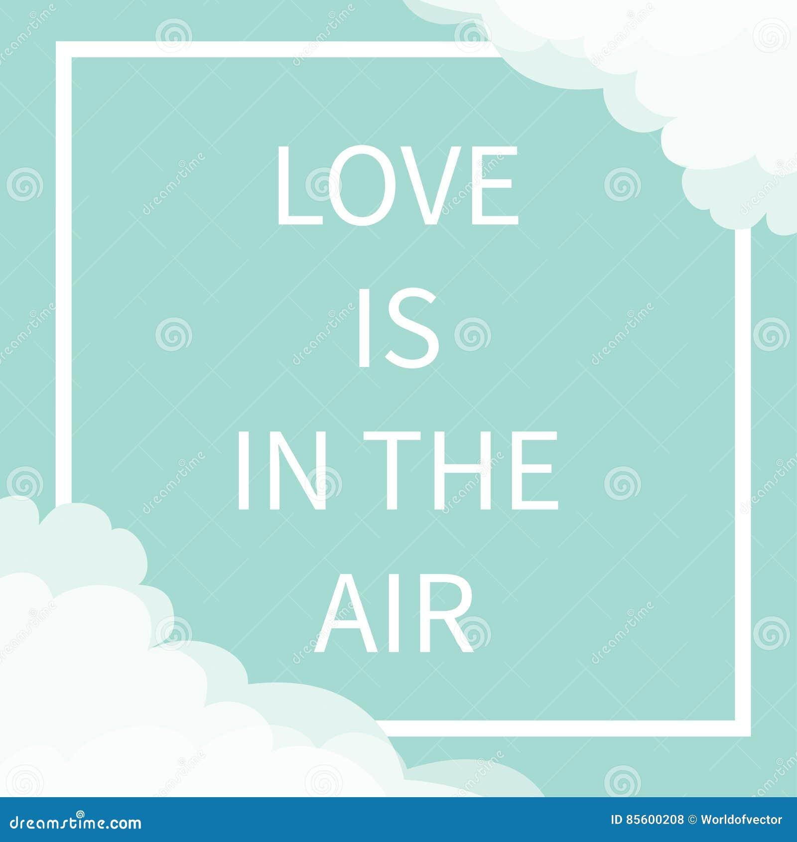 El Amor Está En El Texto De Las Letras De Aire Línea Cuadrada Nube ...