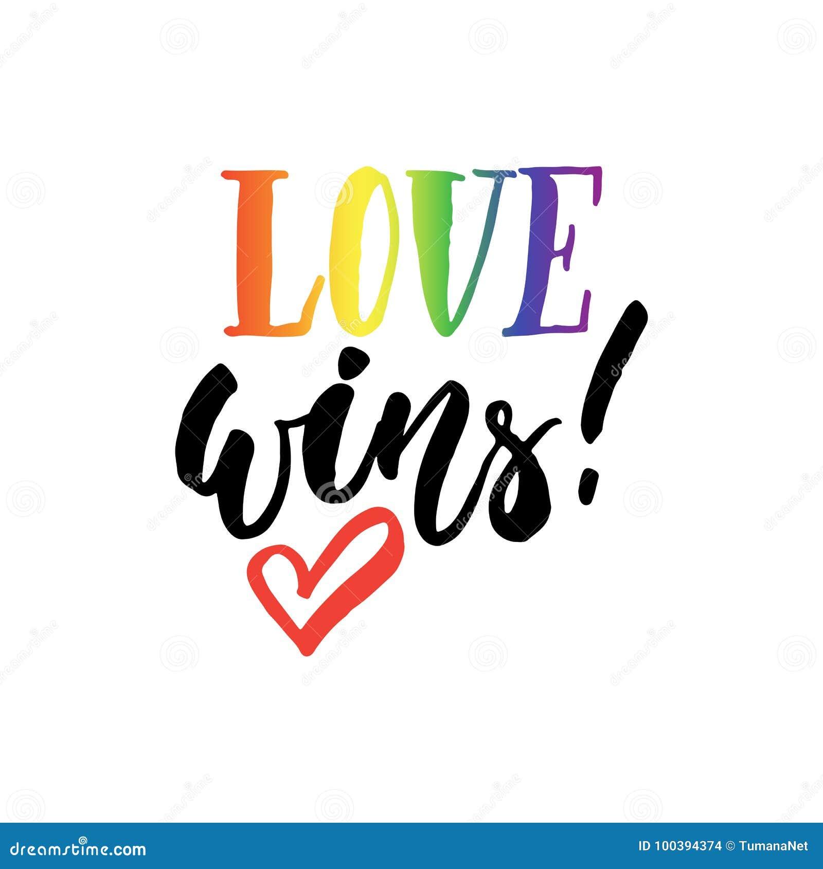 El amor gana - cita dibujada mano de las letras del lema de LGBT con el corazón en el fondo blanco Tinta del cepillo de la divers
