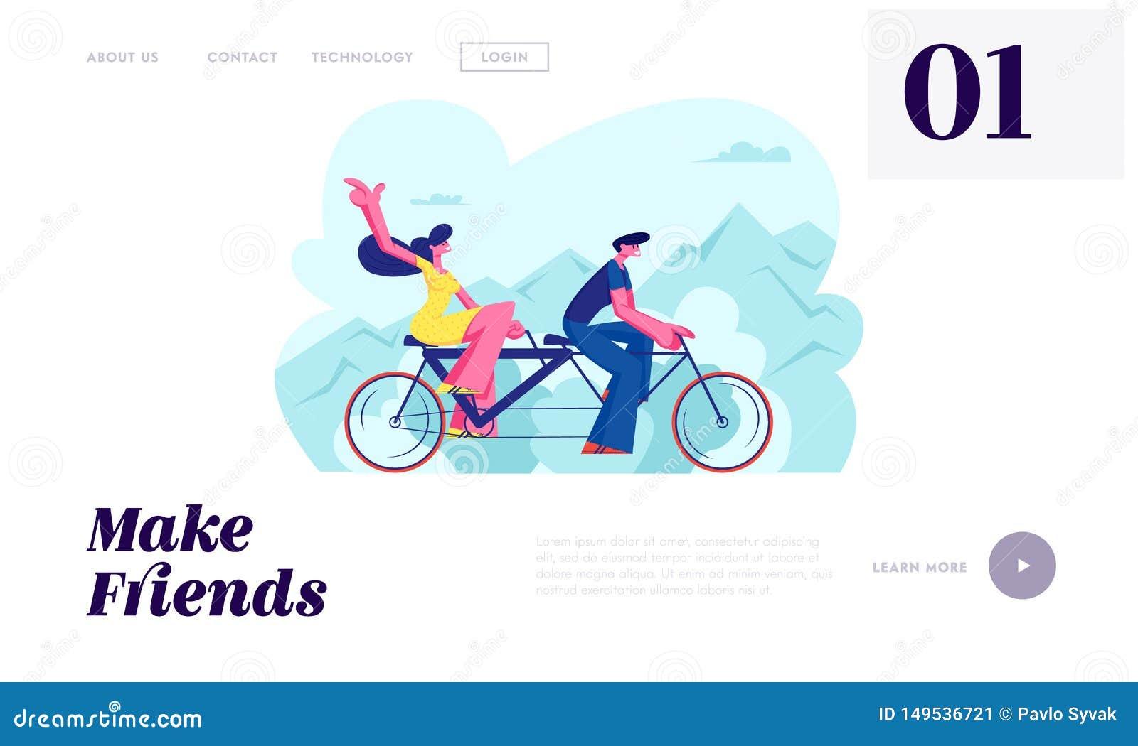 El amor joven junta la bicicleta en tándem del paseo Tiempo disponible de las vacaciones del tiempo de verano, ocio, viaje románt
