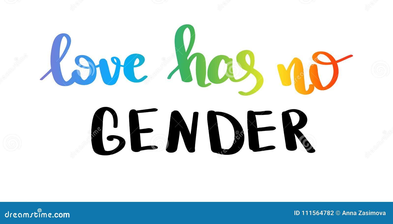 El amor no tiene ningún género Lema del orgullo gay con las letras escritas mano LGBT inspirado endereza el cartel del concepto