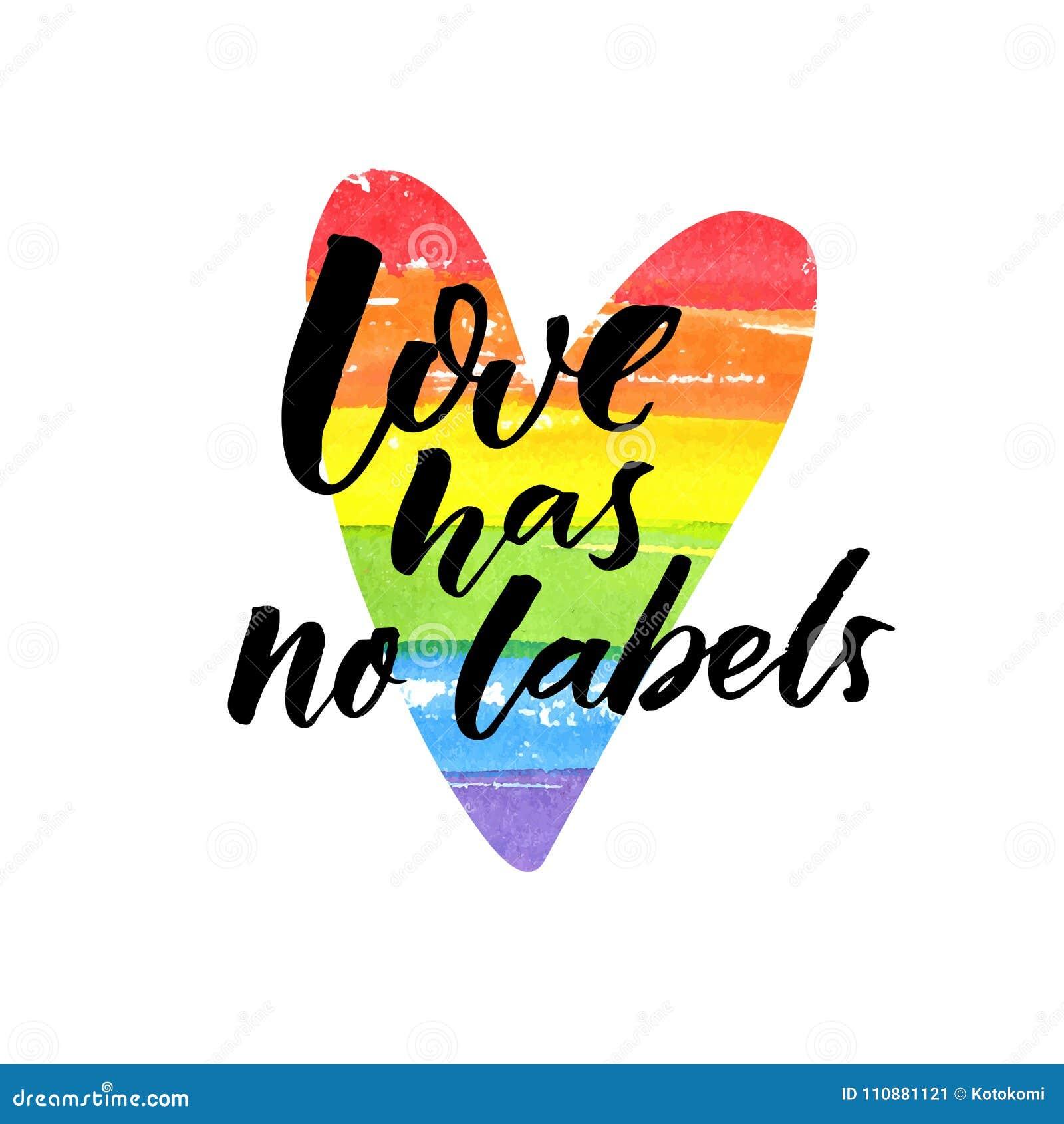 El amor no tiene ninguna etiqueta Lema inspirado del lgbt Letras del cepillo en corazón pintado arco iris