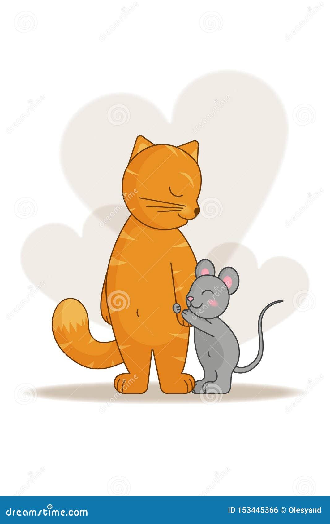 El Amor Y La Amistad Del Gato Y Del Ratón Ilustración Del Vector Ilustración De Plano Postal 153445366