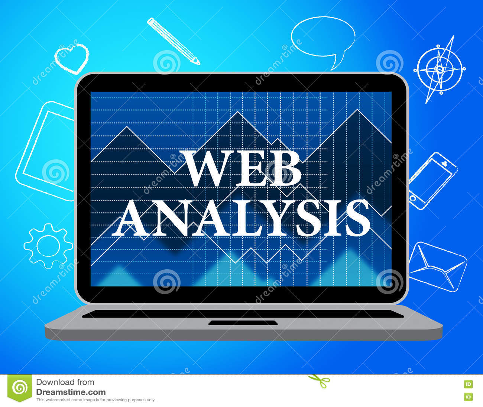 El análisis del web muestra Analytics y al analista de los datos