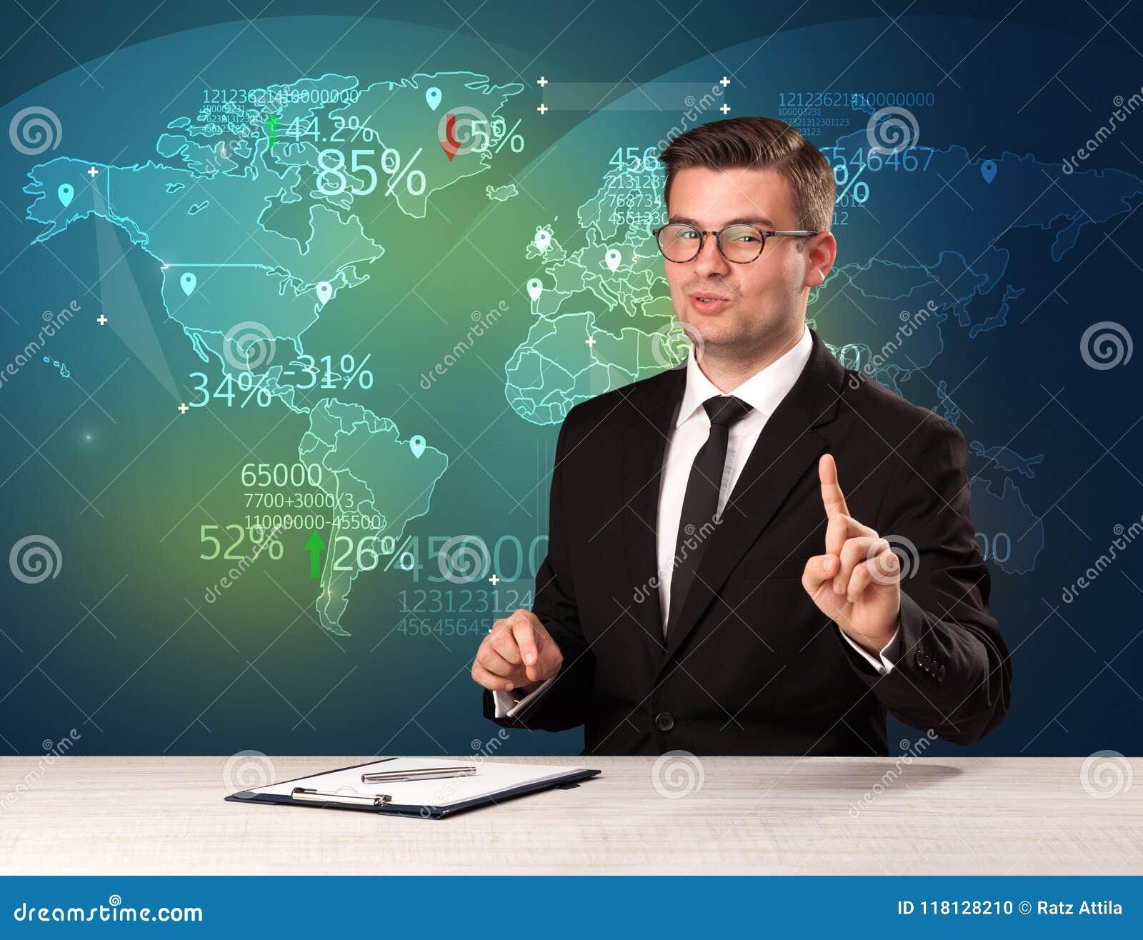 El analista de mercado comercial es noticias del comercio mundial de la información del estudio con concepto del mapa