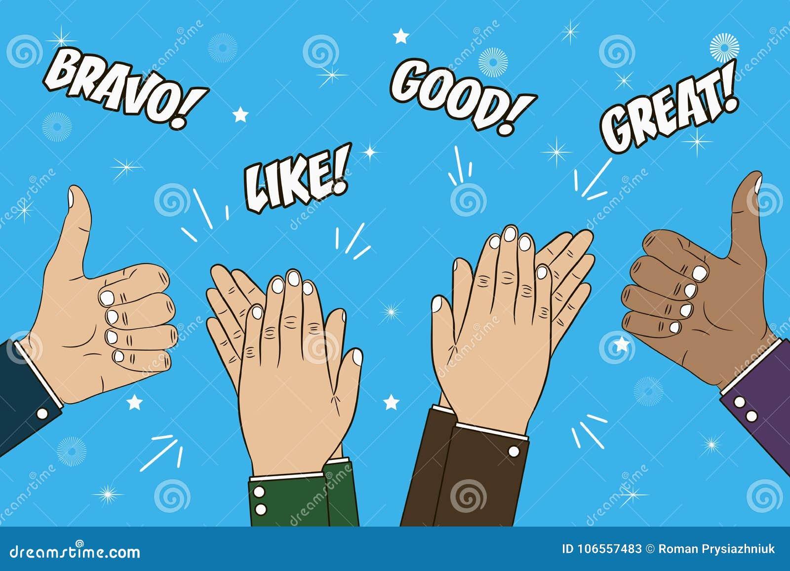 El aplaudir, aplauso y pulgar de manos encima del gesto Ejemplo del concepto de la enhorabuena con el texto - bravo, grande, como