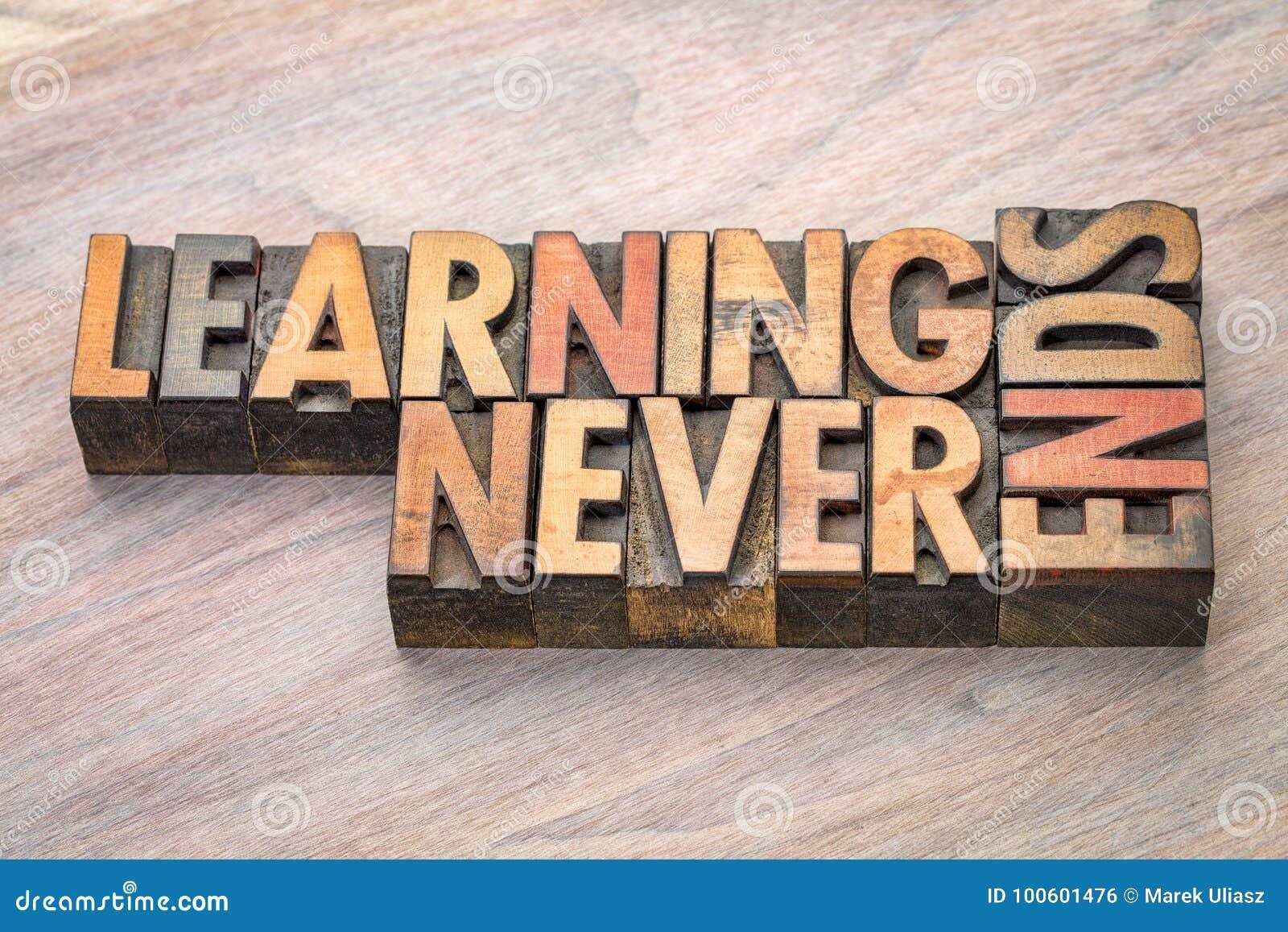 El aprendizaje nunca termina el extracto de la palabra en el tipo de madera