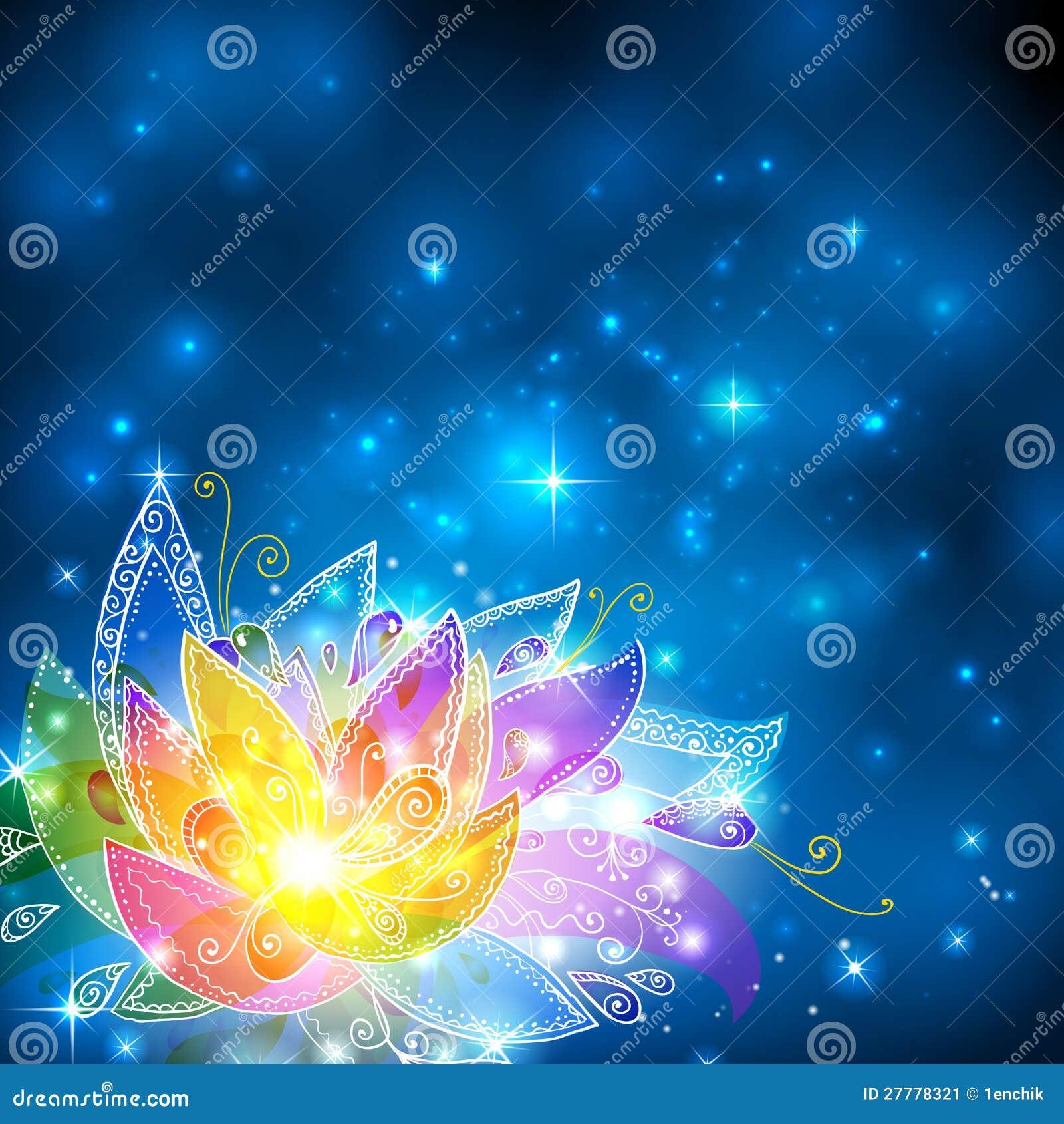 El arco iris brillante mágico colorea la flor esotérica