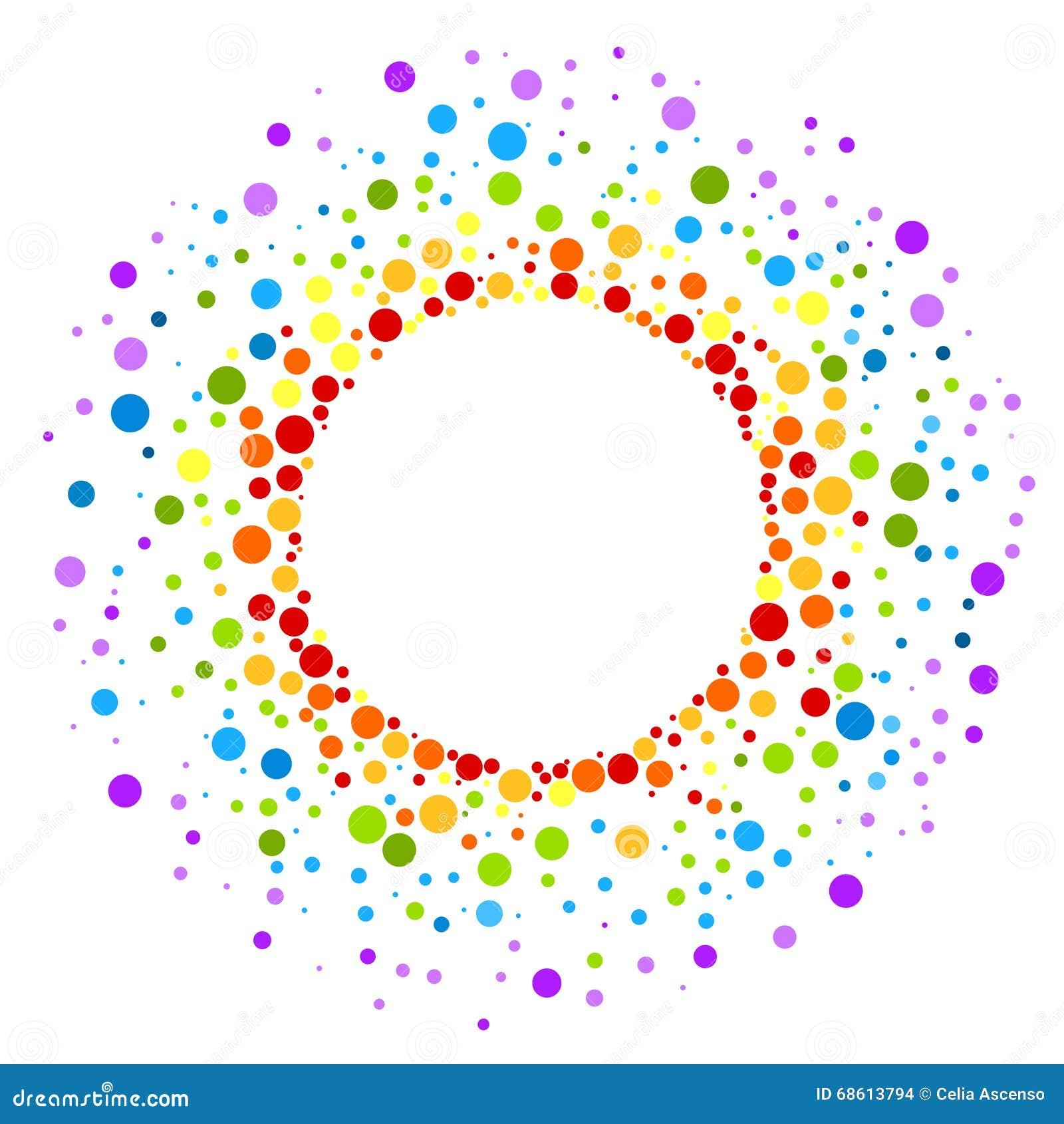 El arco iris circular mancha alrededor de la frontera del marco