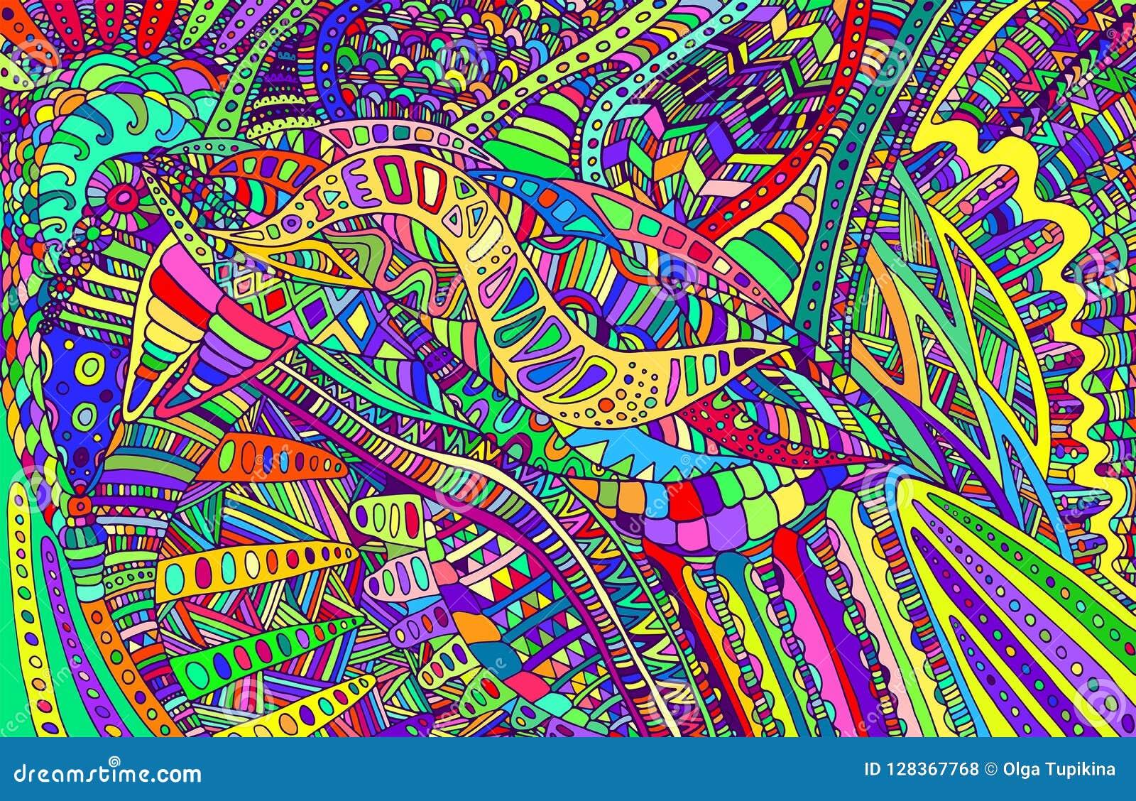 El arco iris colorea el modelo abstracto, laberinto de ornamentos psychedelic