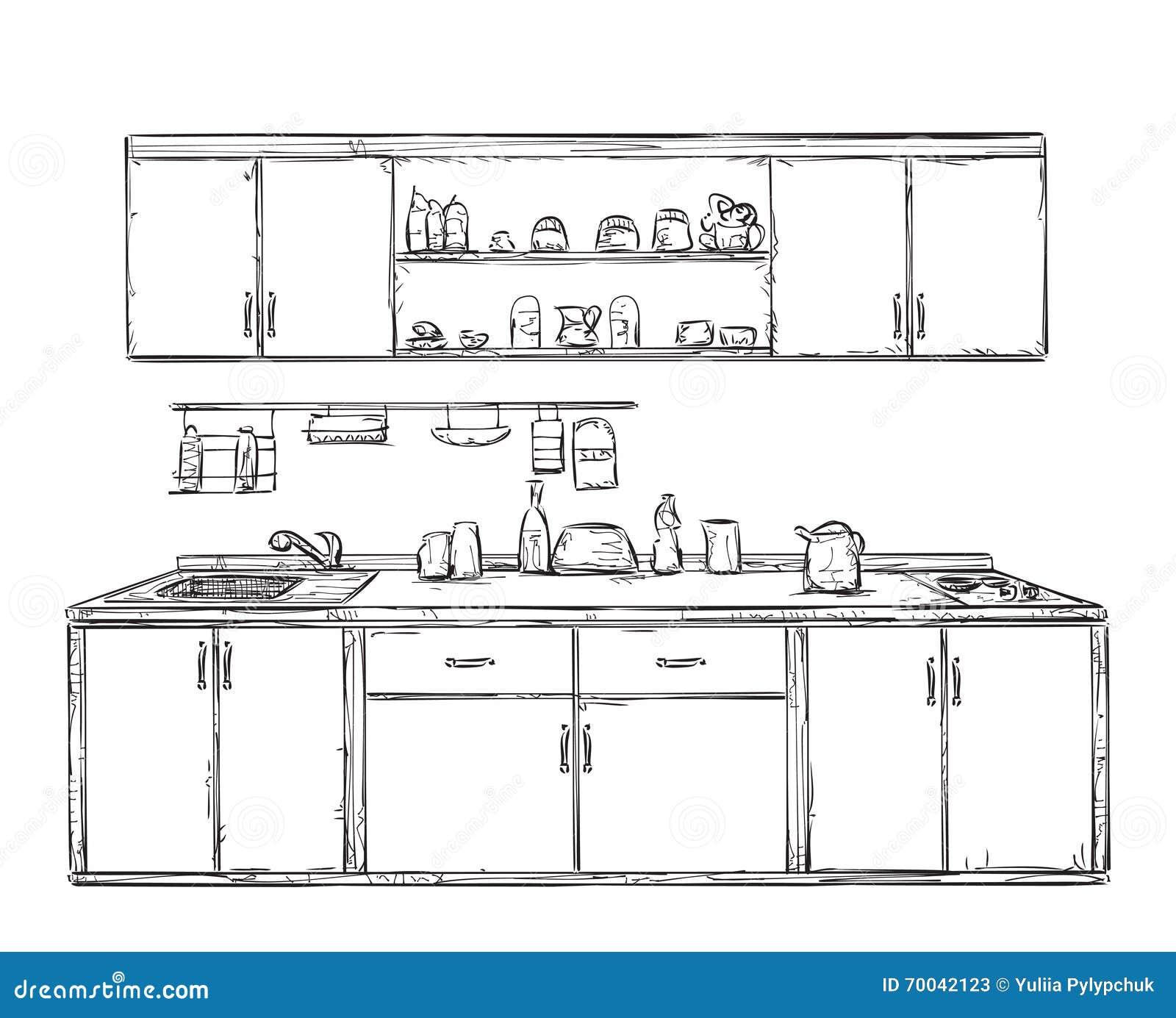 El Armario De La Cocina, Cocina Deja De Lado, Interior Dibujado Mano