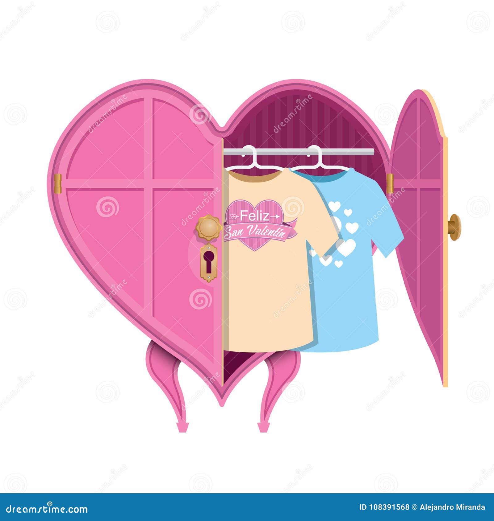 El armario de ropa en forma de corazón rosado con una puerta abierta, dentro de allí es dos camisas con el mensaje: Feliz San Val