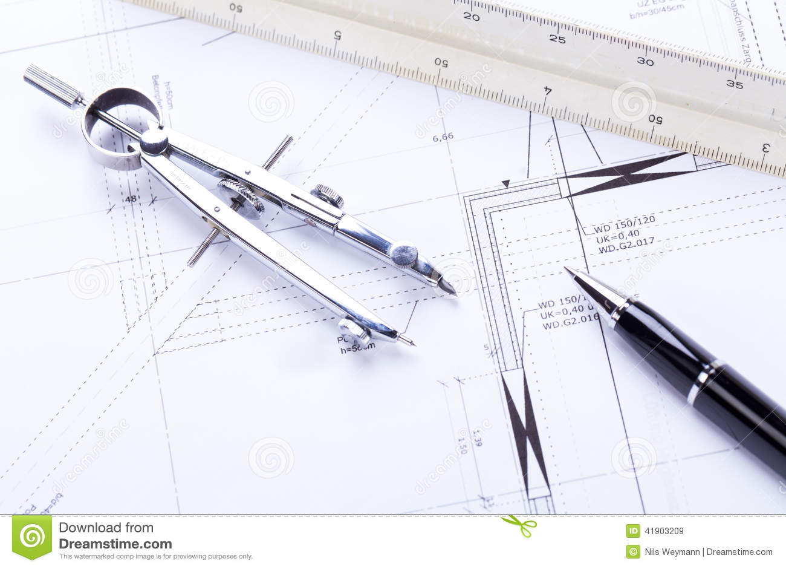 El arquitecto blueprints el lugar de trabajo de los objetos del equipo