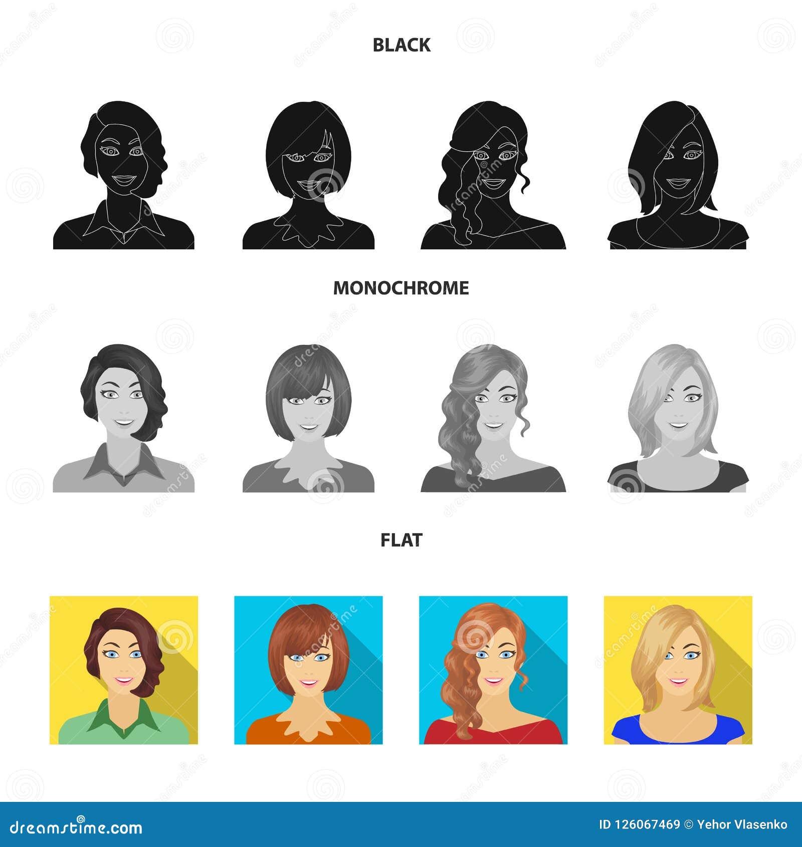 El aspecto de una mujer con un peinado, la cara de una muchacha Cara e iconos determinados de la colección del aspecto en el negr