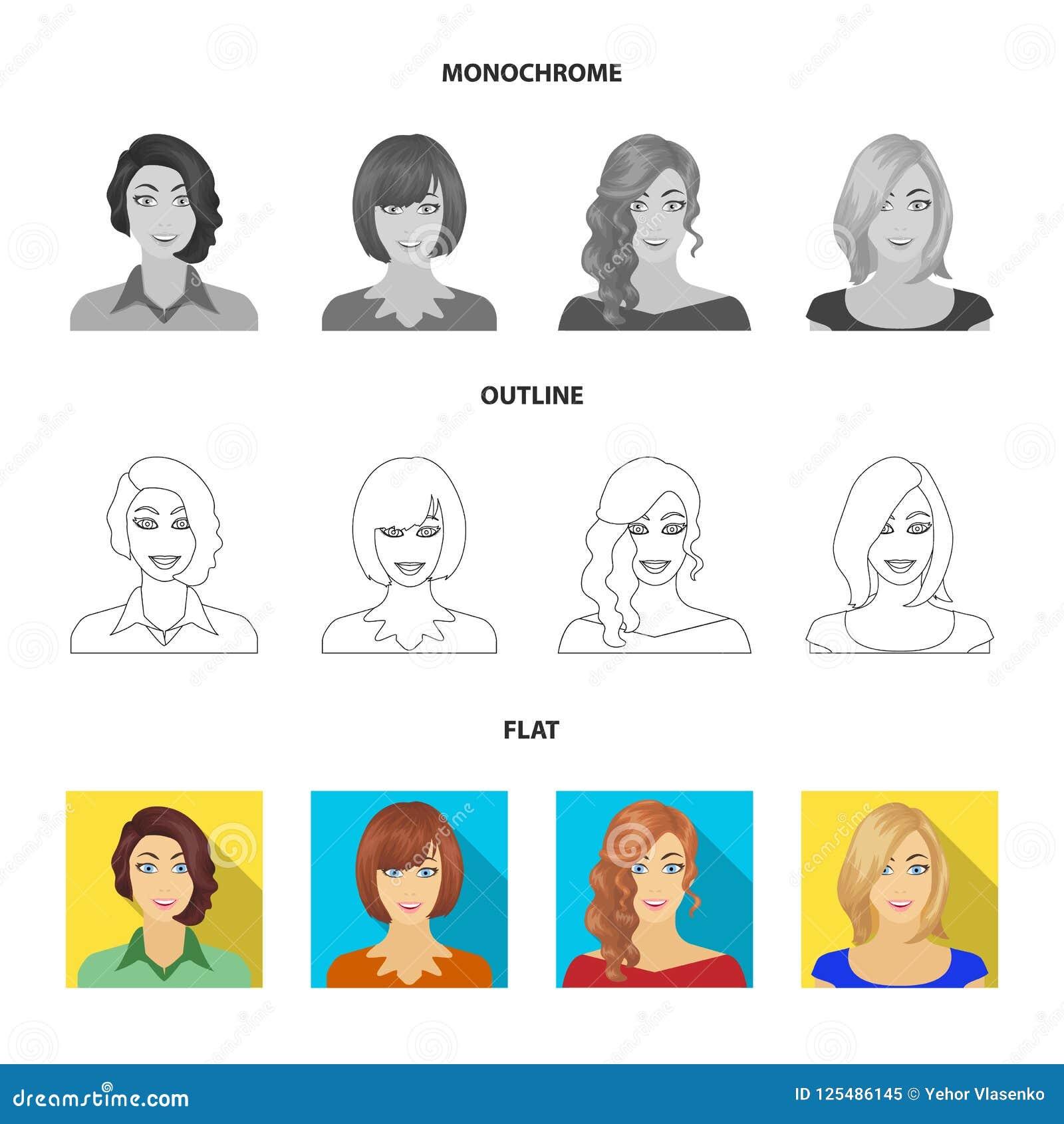 El aspecto de una mujer con un peinado, la cara de una muchacha Cara e iconos determinados de la colección del aspecto en el plan