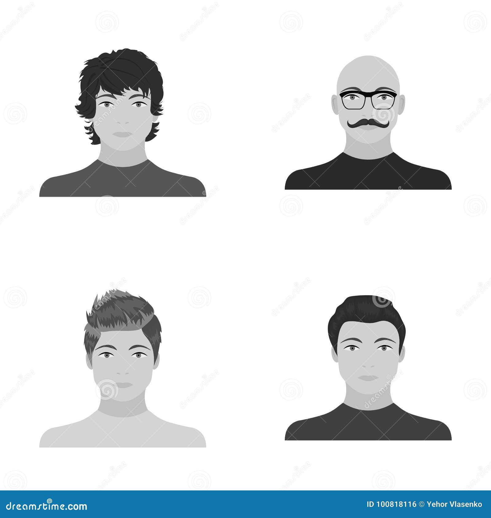 El aspecto del individuo joven, la cara de un hombre calvo con un bigote en sus vidrios Cara y sistema del aspecto