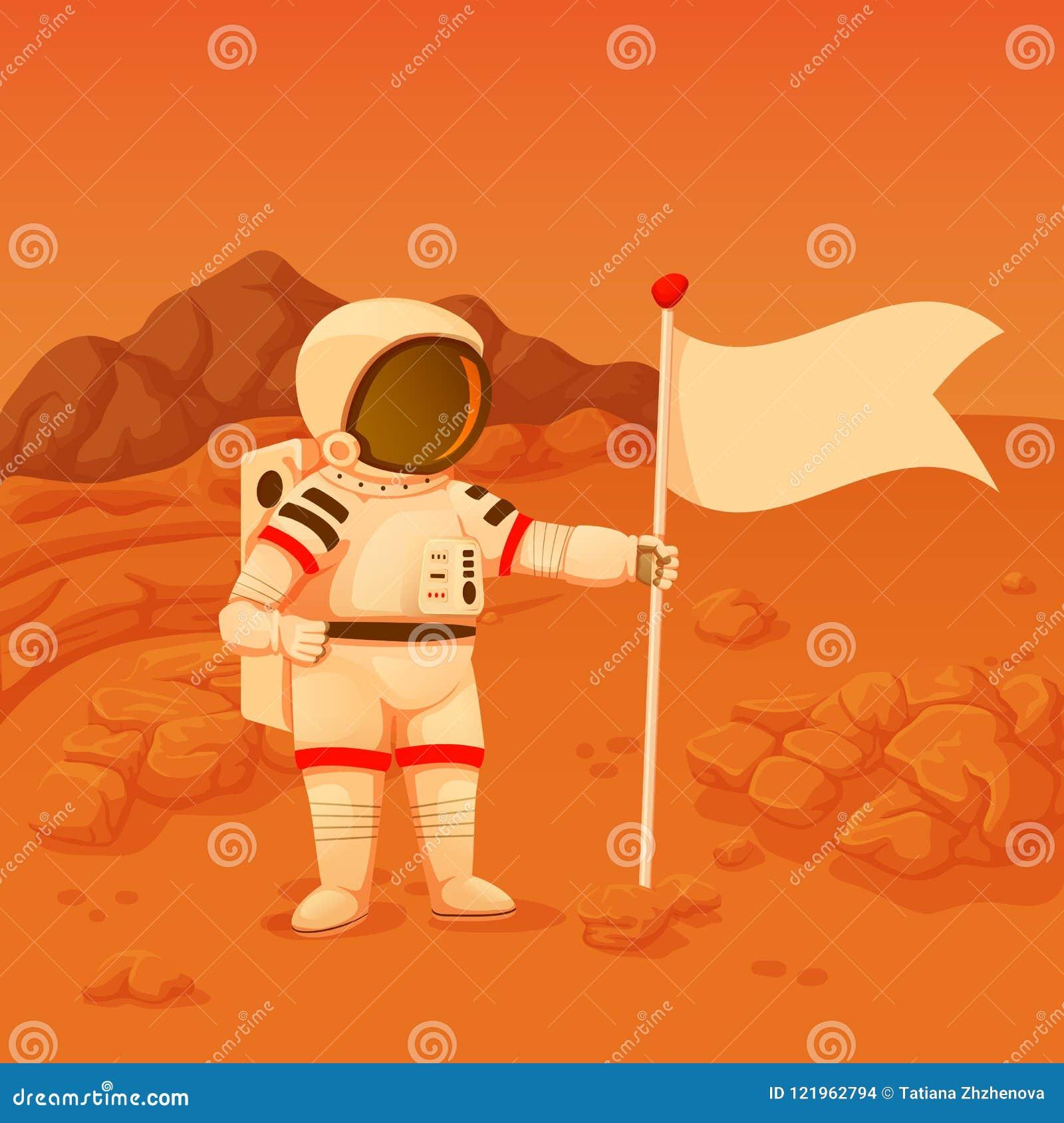 El astronauta con una colocación en jarras del brazo en estropea la superficie que sostiene una bandera