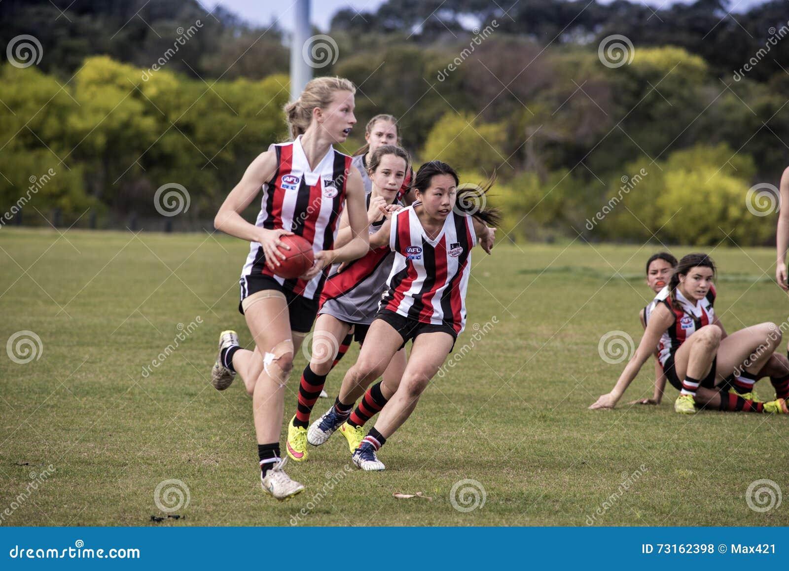 El australiano del juego de las mujeres jovenes gobierna fútbol