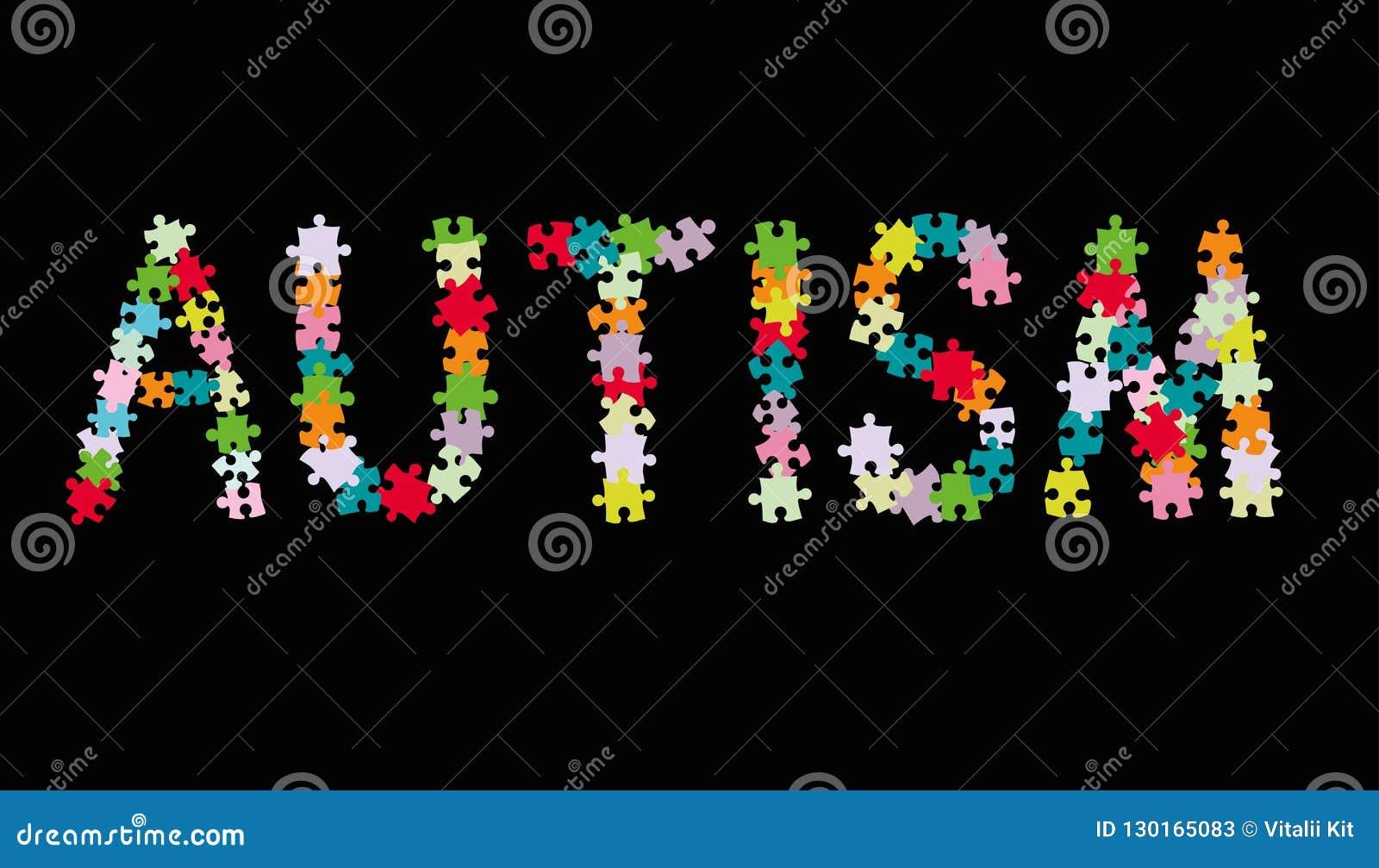 El AUTISMO de la palabra hizo de pedazos coloreados multi del rompecabezas en fondo negro Ilustración del vector