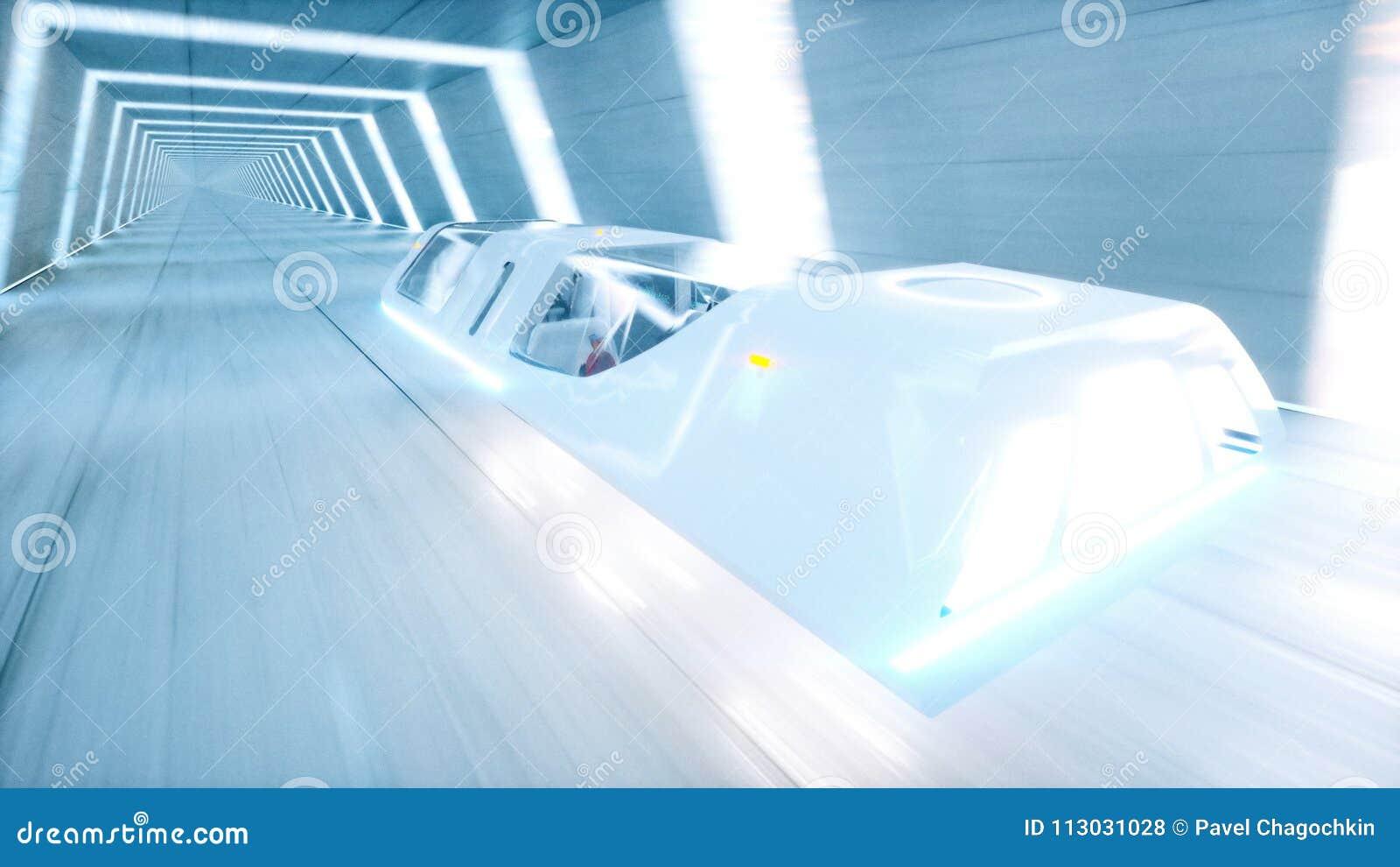El autobús futurista del vuelo con la gente ayuna conduciendo en el túnel del fi del sci, coridor Concepto de futuro representaci