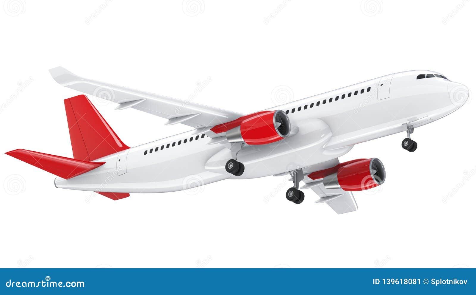 El avión de pasajeros blanco arriba detallado, 3d rinde en un fondo blanco El aeroplano saca, el ejemplo aislado 3d airline