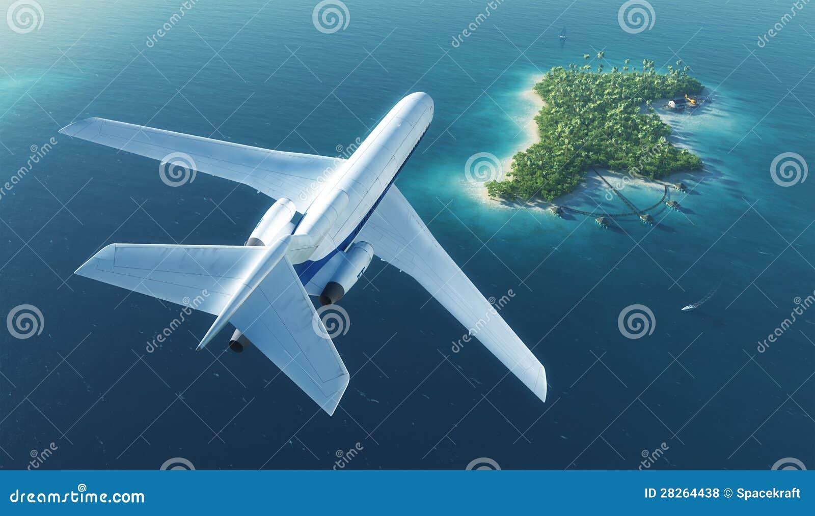 El avión de pasajeros vuela sobre la isla tropical del paraíso