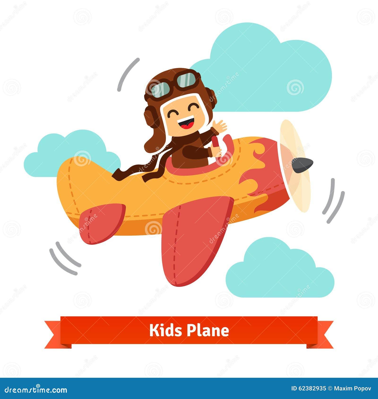 El avión sonriente feliz del vuelo del niño le gusta un piloto real