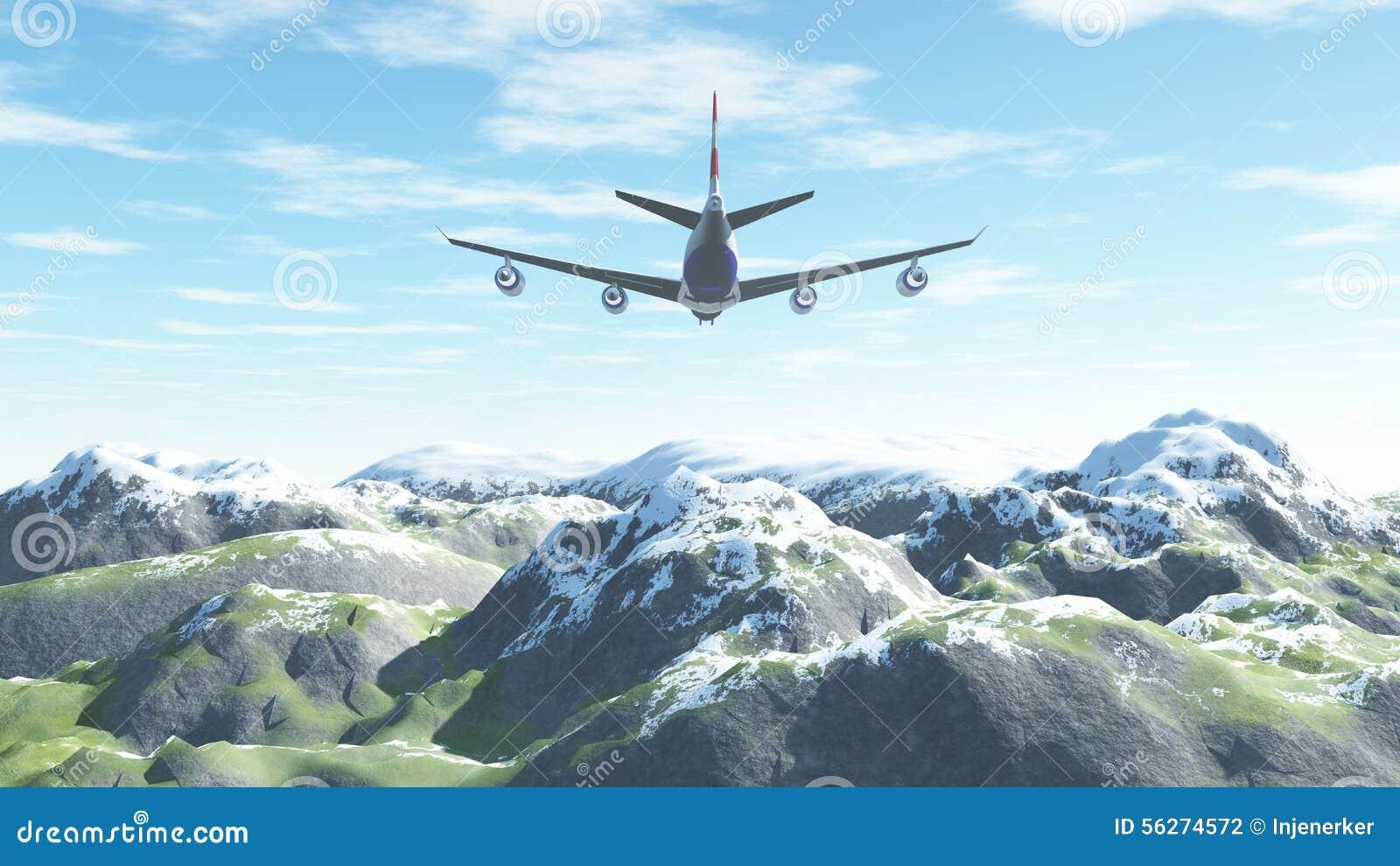 El avión vuela sobre las montañas coronadas de nieve