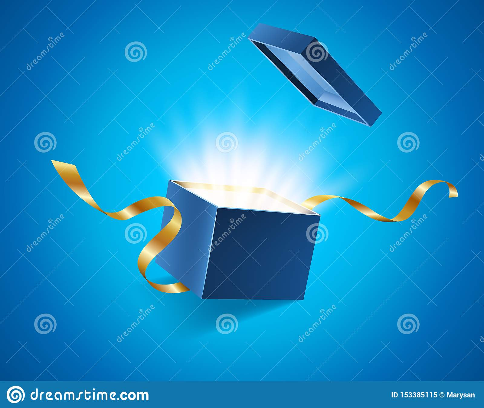 El azul abrió la caja de regalo realista 3d con resplandor brillante mágico y cintas de oro que volaban de la cubierta, lugar par