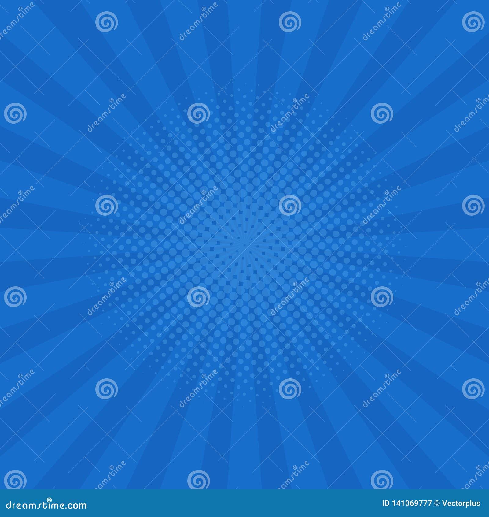 El azul brillante irradia el fondo Tebeos, estilo del arte pop Vector