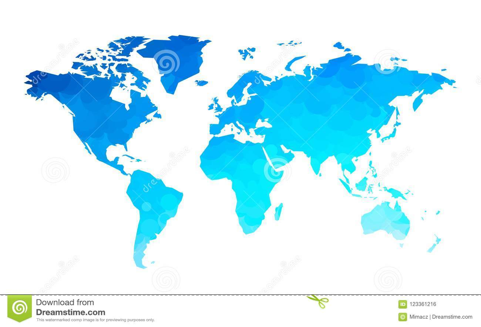 El azul circunda el fondo del mapa del mundo