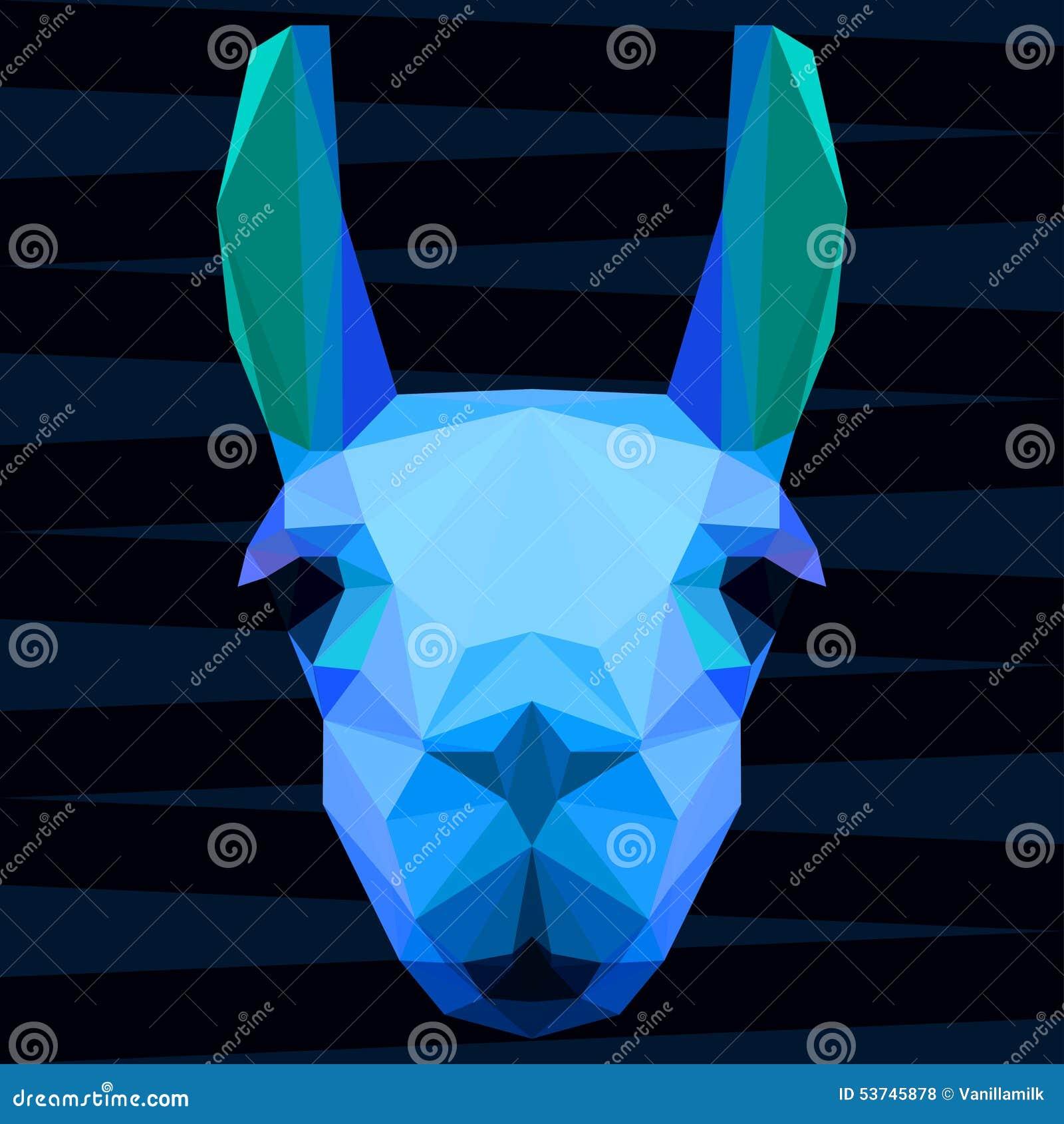 El azul glaring brillante geométrico poligonal abstracto coloreó el retrato de la llama para el uso en diseño