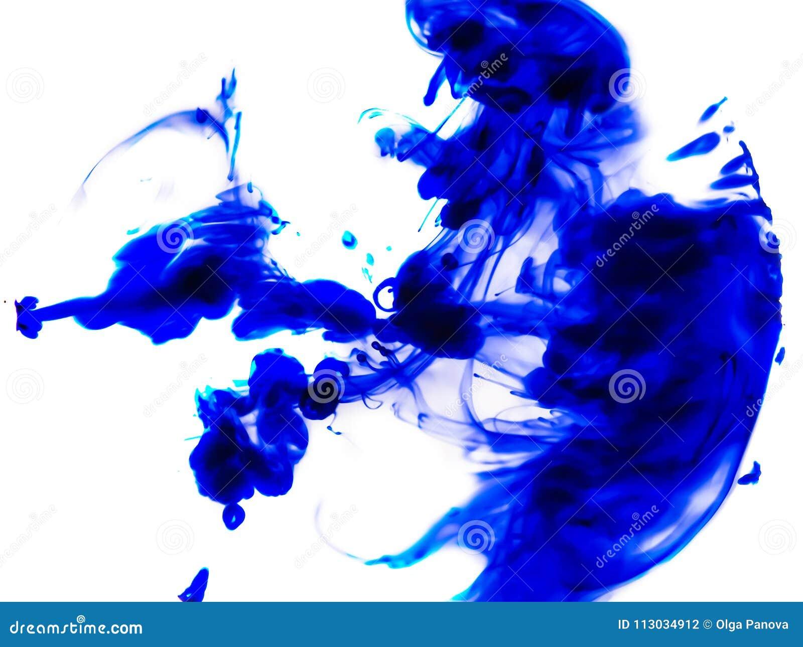 """El azul mancha abstracción del †""""en el fondo blanco"""