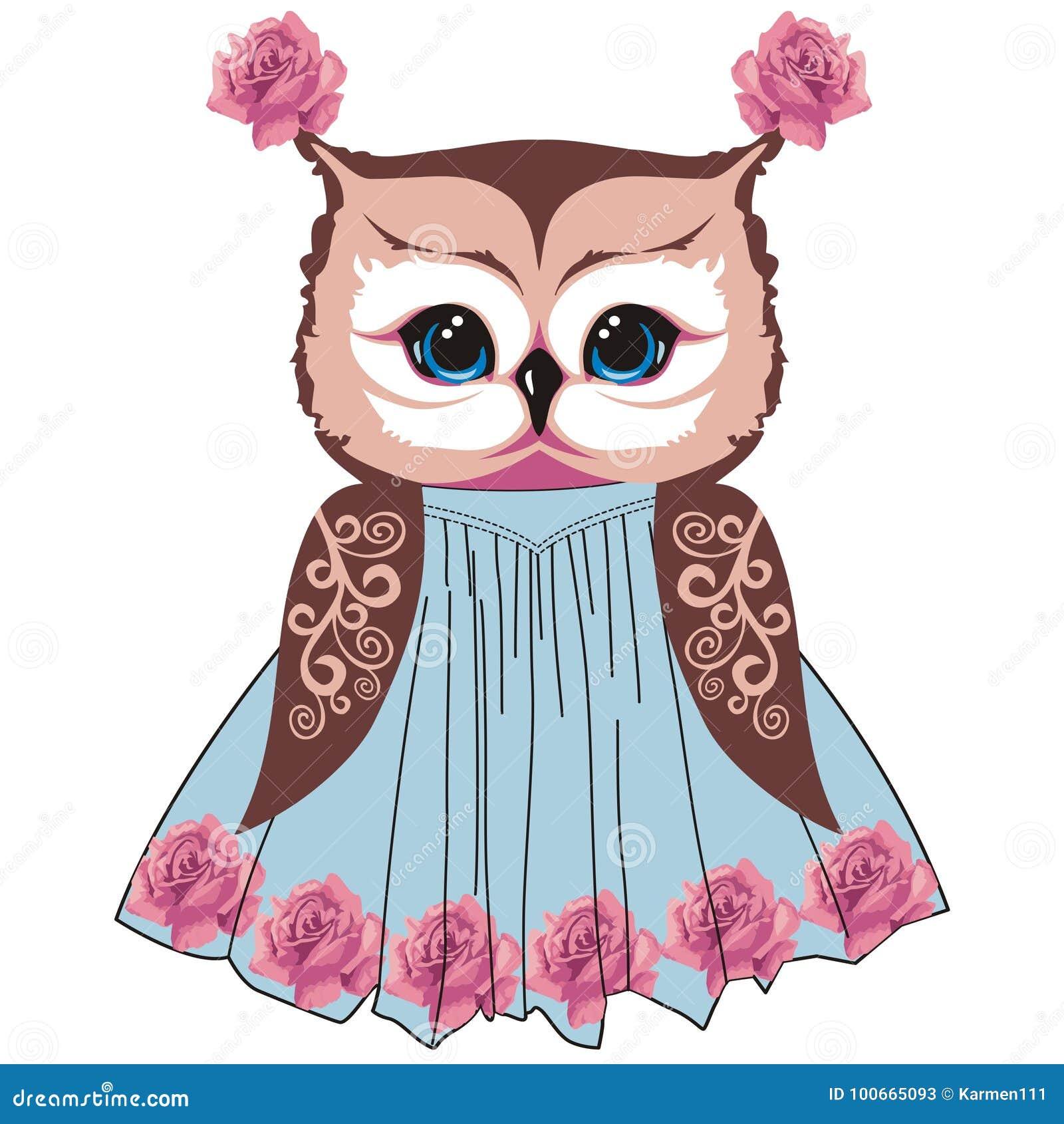 El búho en el estilo de la elegancia lamentable, boho, Provence con los modelos del cordón y las rosas florece