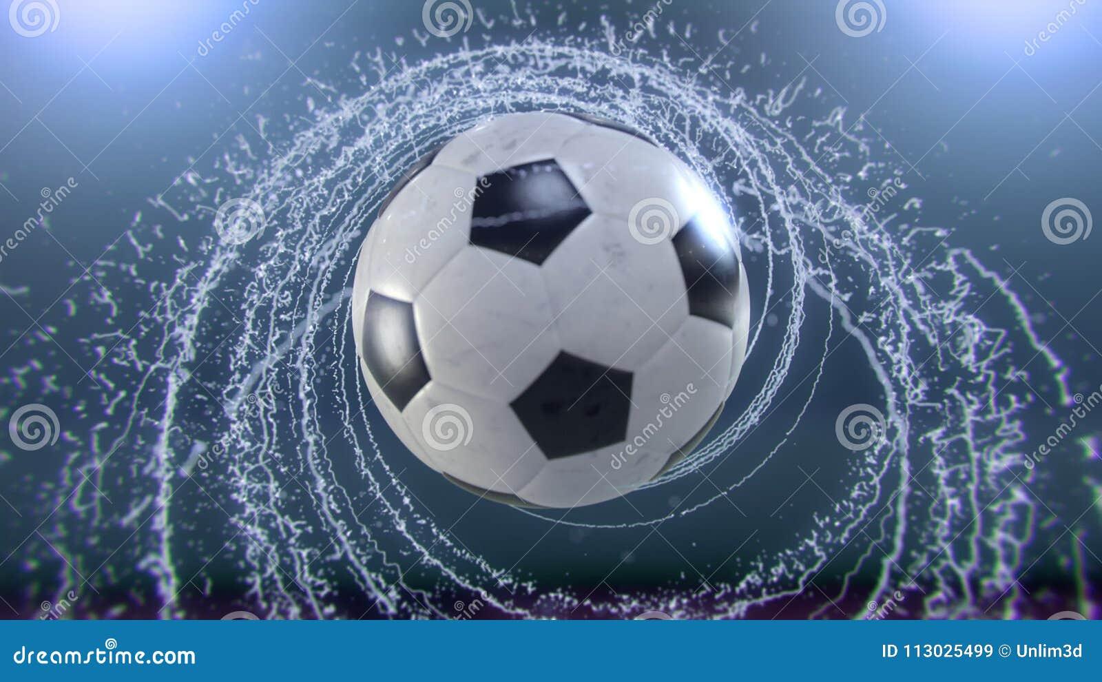 El balón de fútbol vuela emitiendo el giro de los descensos del agua, ejemplo 3d