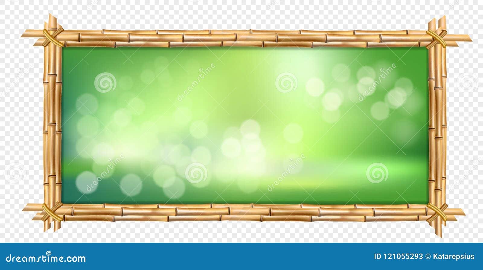 El bambú marrón del rectángulo pega el marco con el fondo borroso verde