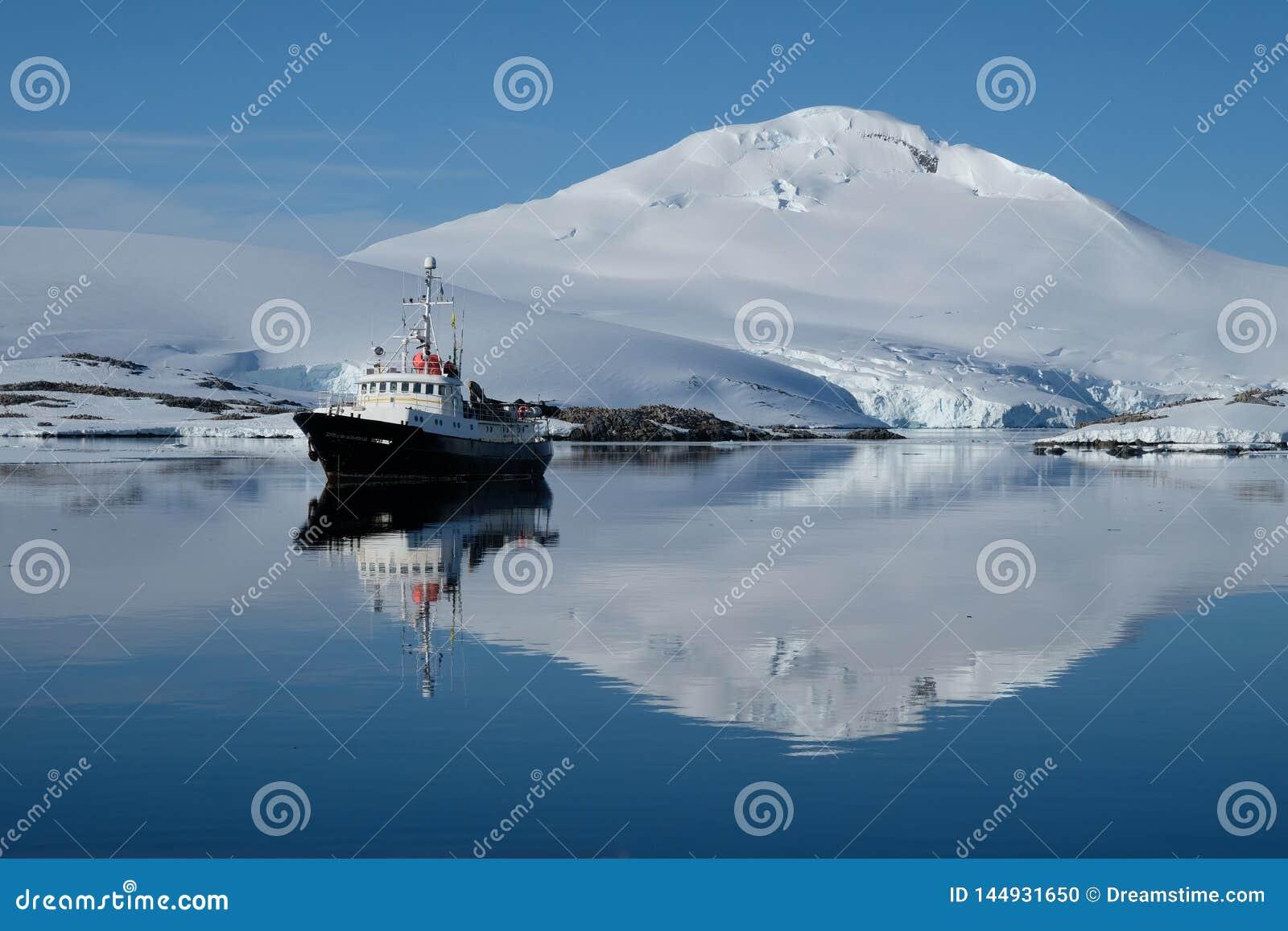 El barco de la Antártida ondula en una bahía azul del espejo debajo de la montaña capsulada la nieve blanca