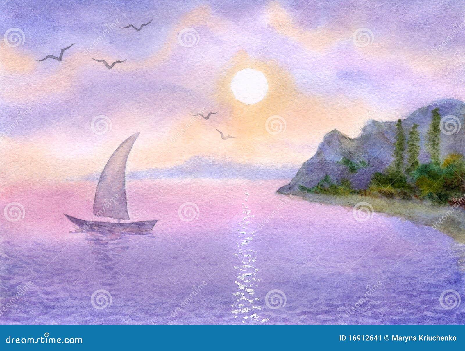 El barco de vela en el mar resuelve el sol imagen de - Bater roca precios ...