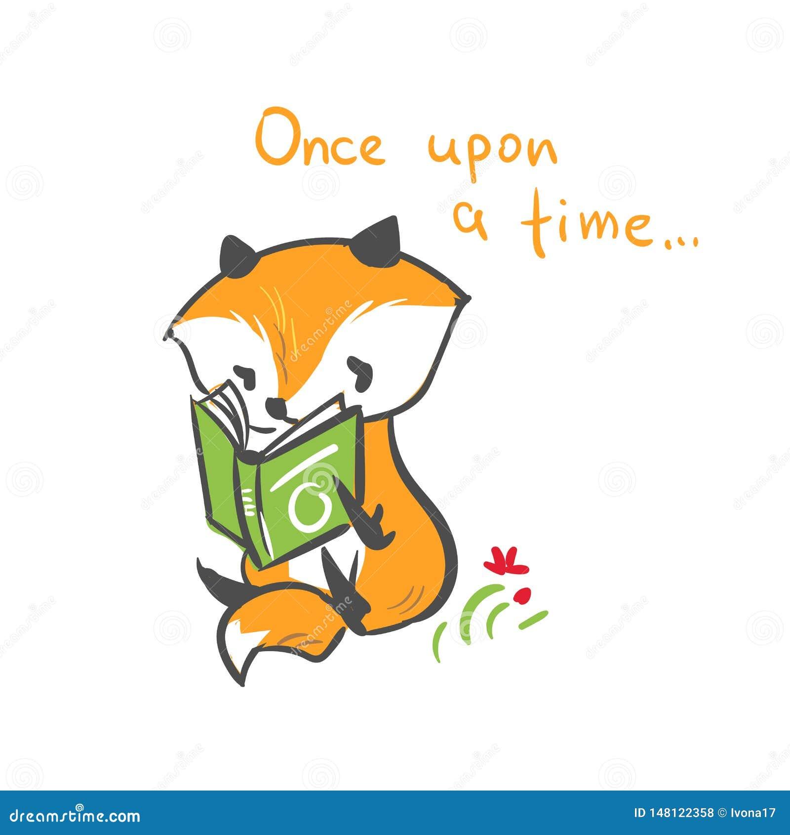 El bebé del zorro del carácter del vector leyó la impresión del libro