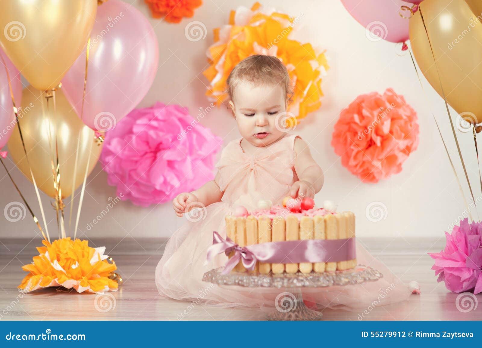 El Bebe Lindo Celebra Cumpleanos Un Ano Foto De Archivo Imagen De