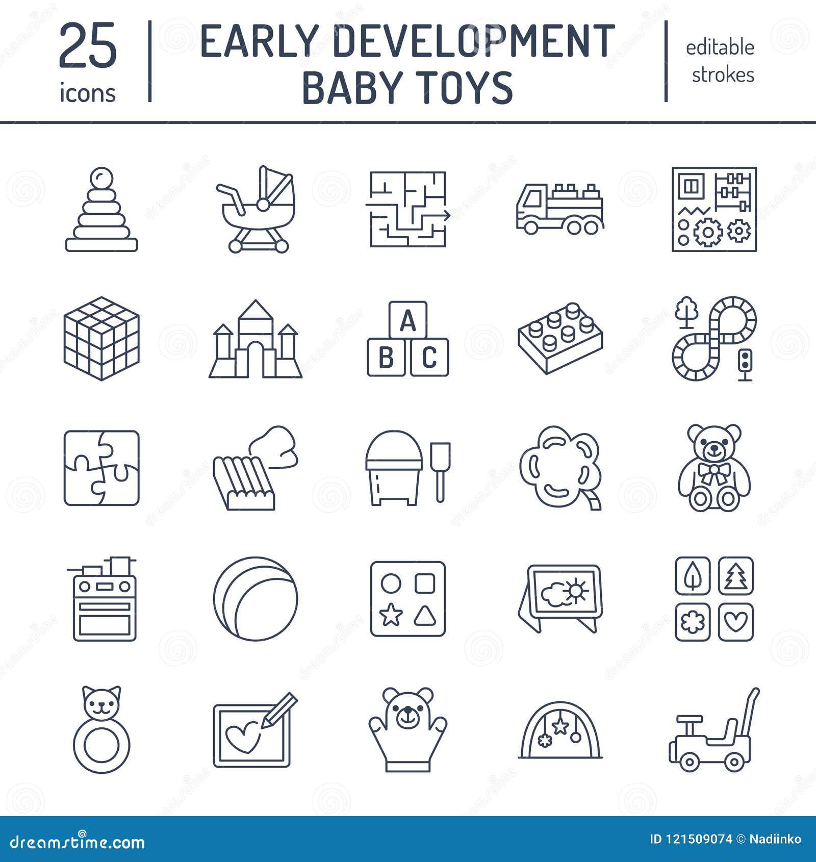 El bebé temprano del desarrollo juega la línea plana iconos Juegue la estera, clasificando el bloque, tablero ocupado, carro, coc