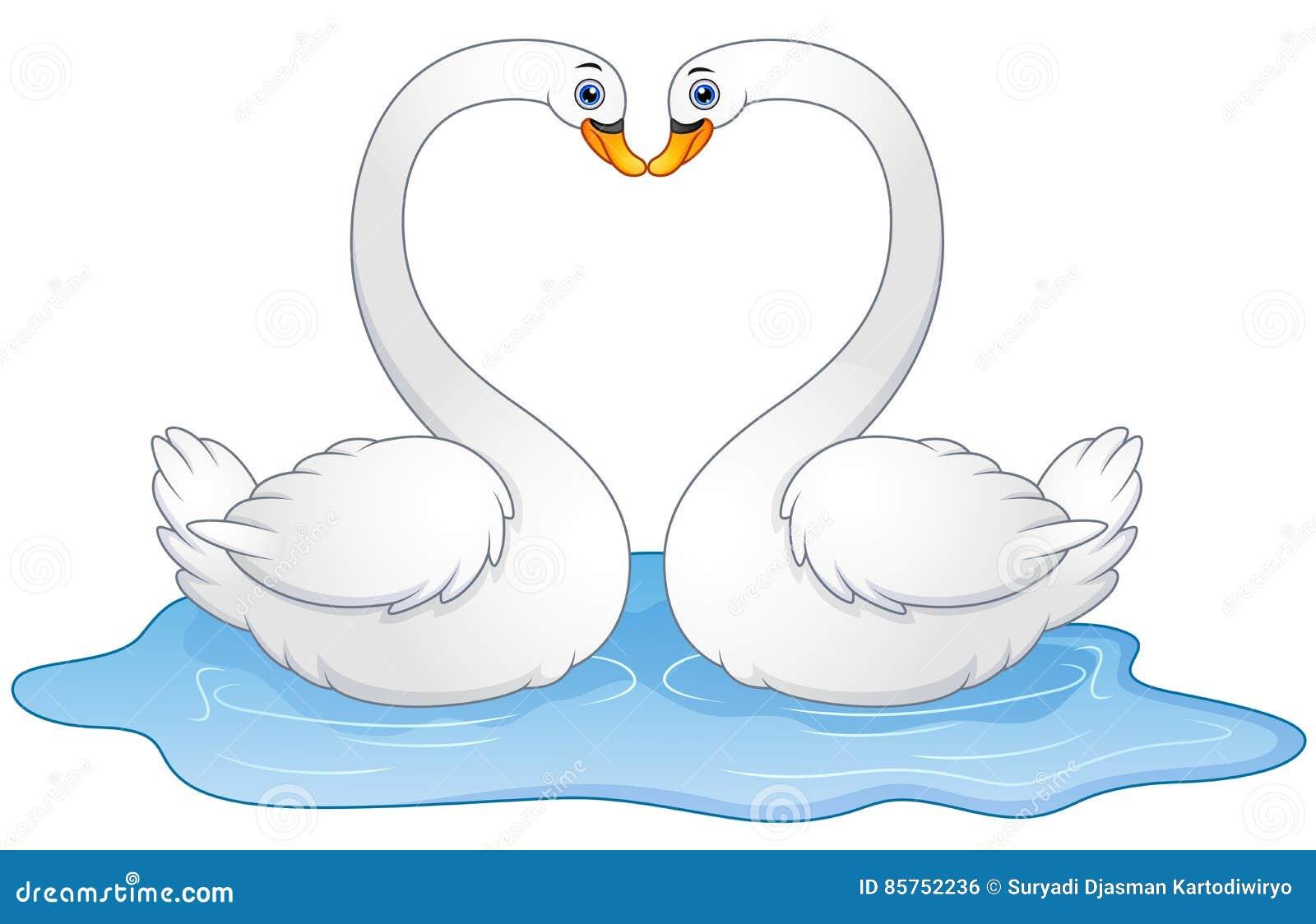 El besarse del amante de los cisnes de los pares de la historieta