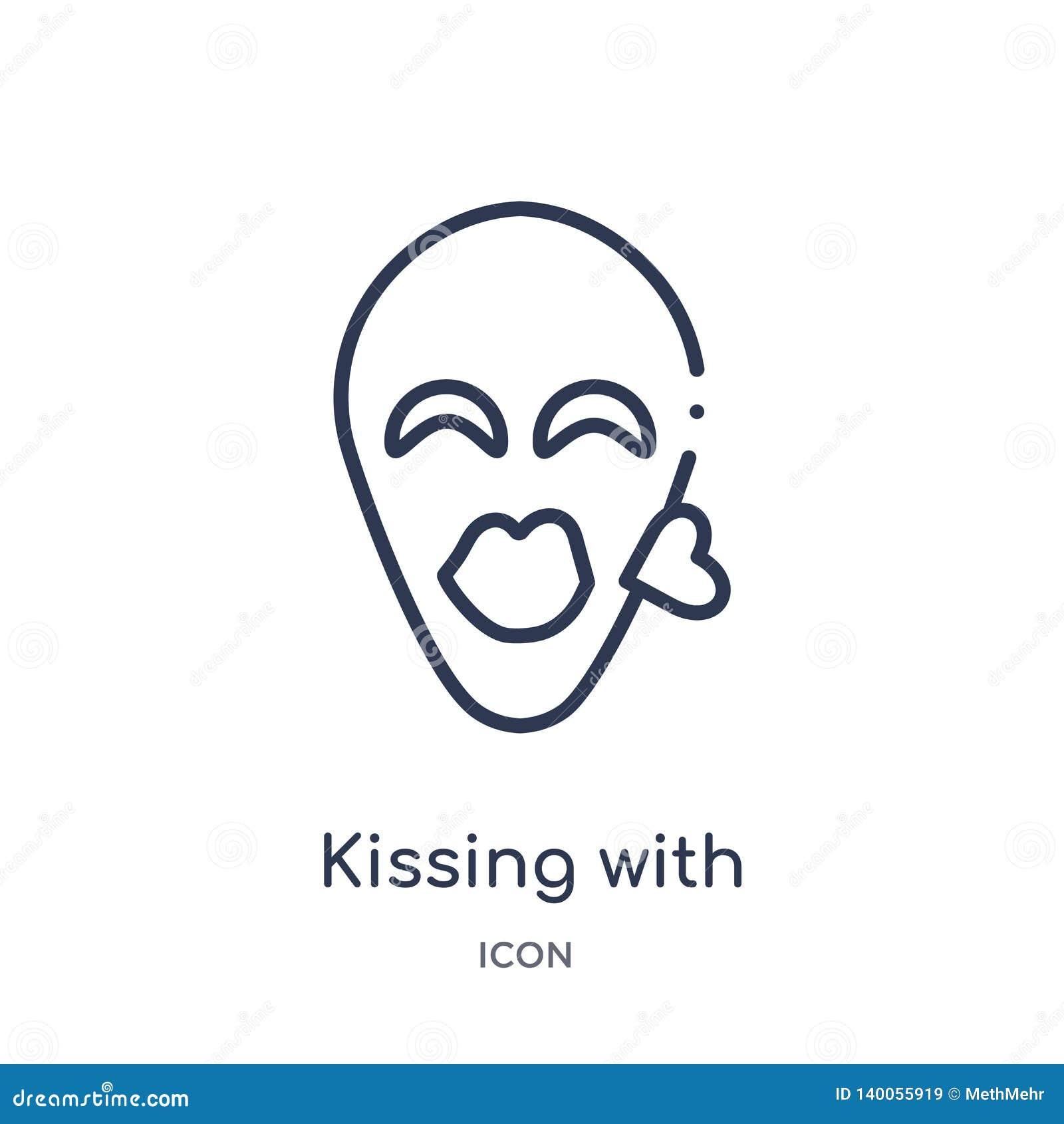 El besarse linear con el icono cerrado del emoji de los ojos de la colección del esquema de Emoji Línea fina que se besa con vect